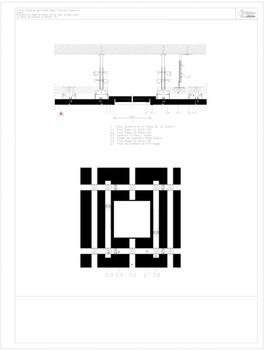 Pagina 1 - CAD-DWG Tavane de gips-carton Rigips- montarea trapelor de revizie 5.75.02 - foc...