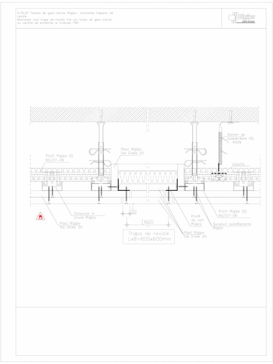Pagina 1 - CAD-DWG Tavane de gips-carton Rigips- montarea trapelor de revizie 5.75.07 - foc...