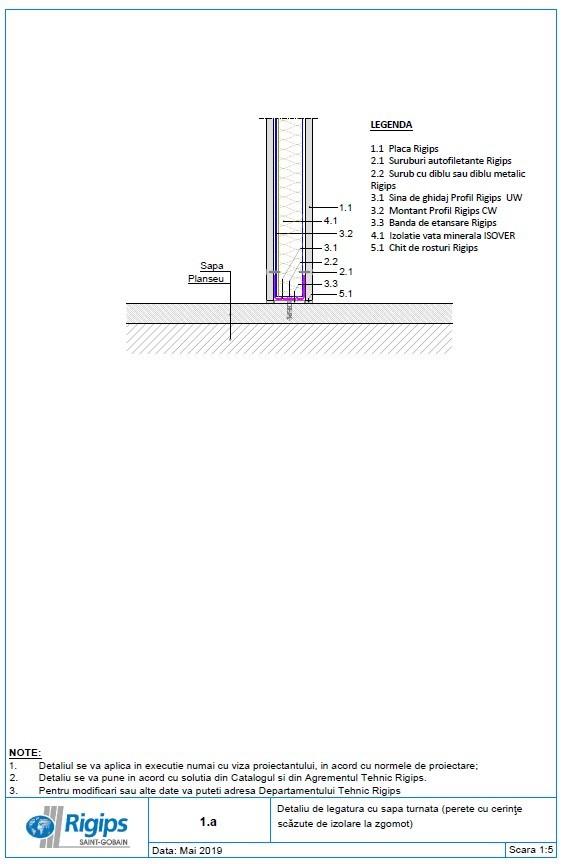 Pagina 1 - CAD-DWG Detaliu de legatura cu sapa turnata - Perete cu cerinte scazute de izolare la...