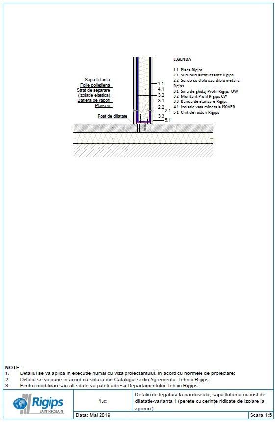 Pagina 1 - CAD-DWG Detaliu de legatura la pardoseala sapa flotanta cu rost de dilatatie - Varianta...
