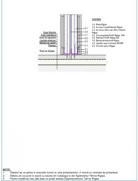 Detaliu de legatura la pardoseala sapa flotanta cu rost de dilatatie - Varianta 2 Perete cu