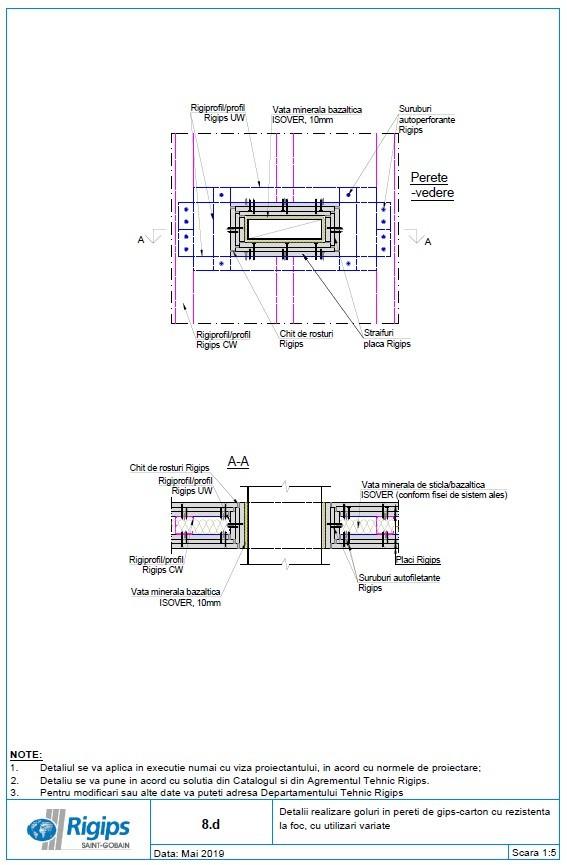 Pagina 1 - CAD-DWG Detalii realizare goluri in pereti de gips carton cu rezistenta la foc cu...