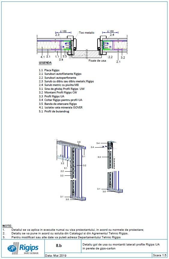 Pagina 1 - CAD-DWG Detaliu gol de usa cu montantii laterali profile Rigips UA in perete de gips...