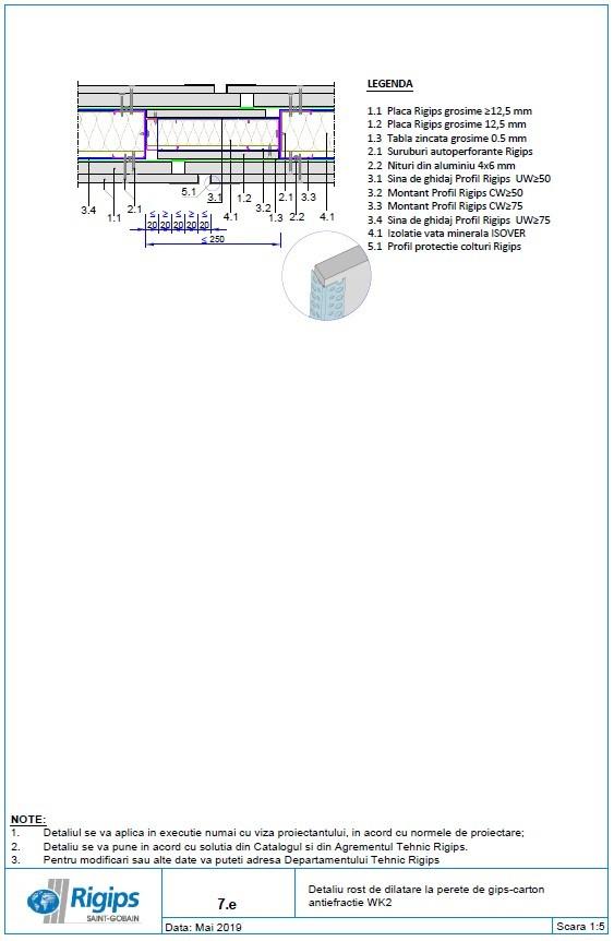Pagina 1 - CAD-DWG Detaliu rost de dilatare la perete de gips carton antiefractie WK2 Saint-Gobain...