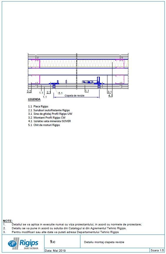 Pagina 1 - CAD-DWG Detaliu montaj clapeta revizie Saint-Gobain Rigips Detaliu de produs Rigidur