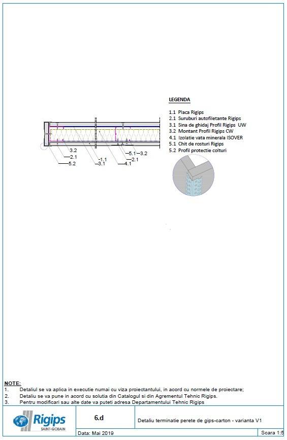 Pagina 1 - CAD-DWG Detaliu terminatie perete de gips carton - Varianta V1 Saint-Gobain Rigips...