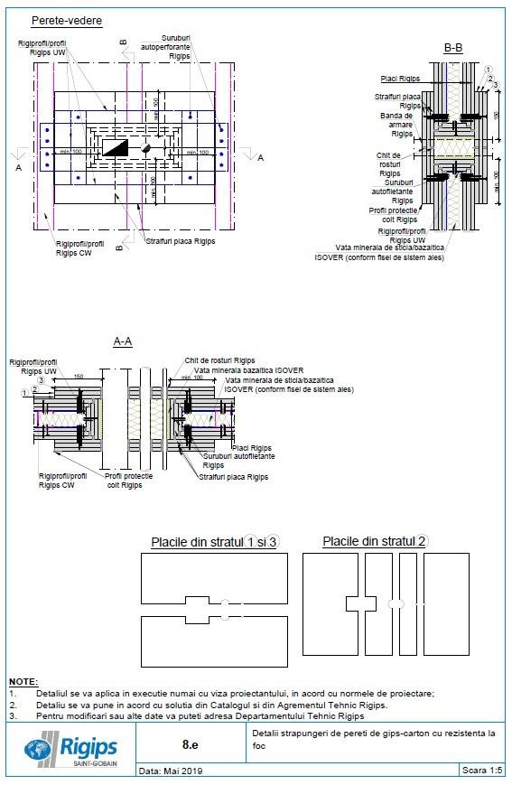 Pagina 1 - CAD-DWG Detalii strapungeri de pereti de gips carton cu rezistenta la foc Saint-Gobain...