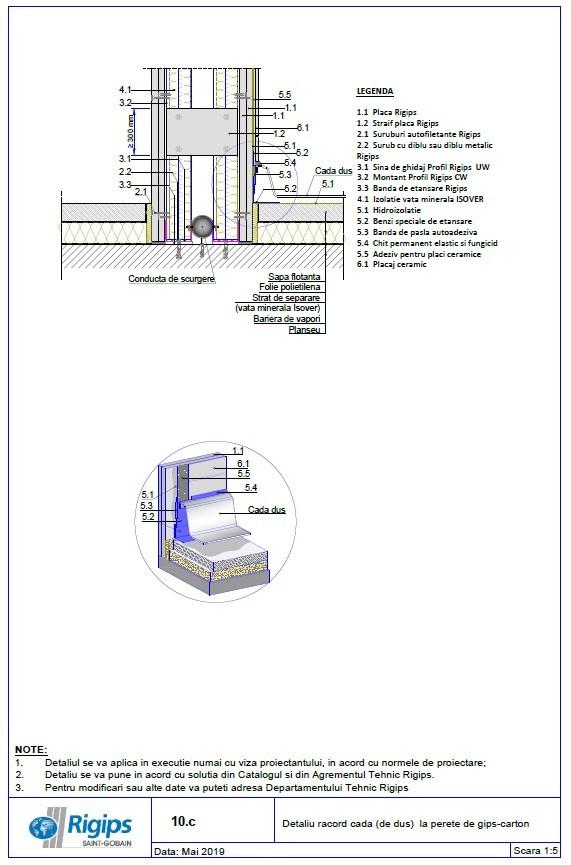 Pagina 1 - CAD-DWG Detaliu racord cada la perete de gips carton Saint-Gobain Rigips Detaliu de...