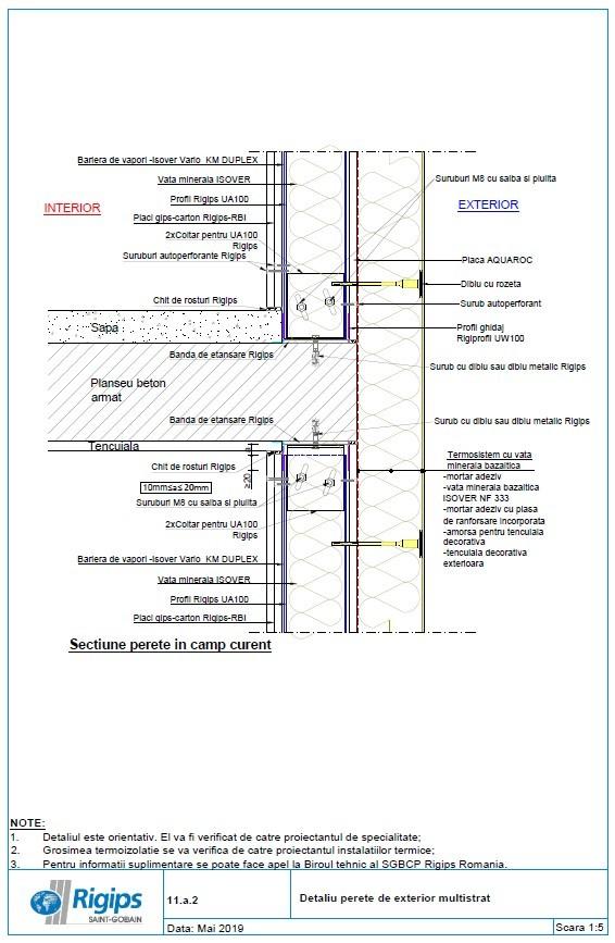 Pagina 1 - CAD-DWG Detalii pereti de exterior multistrat Saint-Gobain Rigips Detaliu de produs...