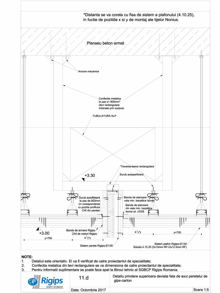 Pagina 1 - CAD-DWG Detaliu prindere superioara deviata fata de axul peretelui de gips carton...