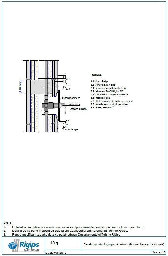 Pagina 1 - CAD-DWG Detaliu montaj ingropat al armaturilor sanitare cu carcasa Saint-Gobain Rigips...