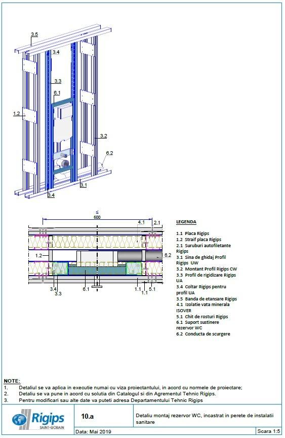 Pagina 1 - CAD-DWG Detaliu montaj rezervor WC incastrat in perete de instalatii sanitare...