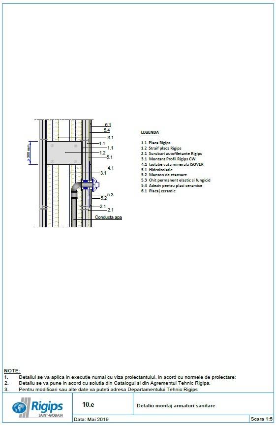 Pagina 1 - CAD-DWG Detaliu montaj armaturi sanitare Saint-Gobain Rigips Detaliu de produs Rigidur