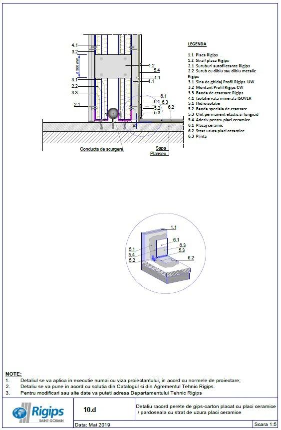 Pagina 1 - CAD-DWG Detaliu racord perete de gips carton placat cu placi ceramice - Pardoseala cu...