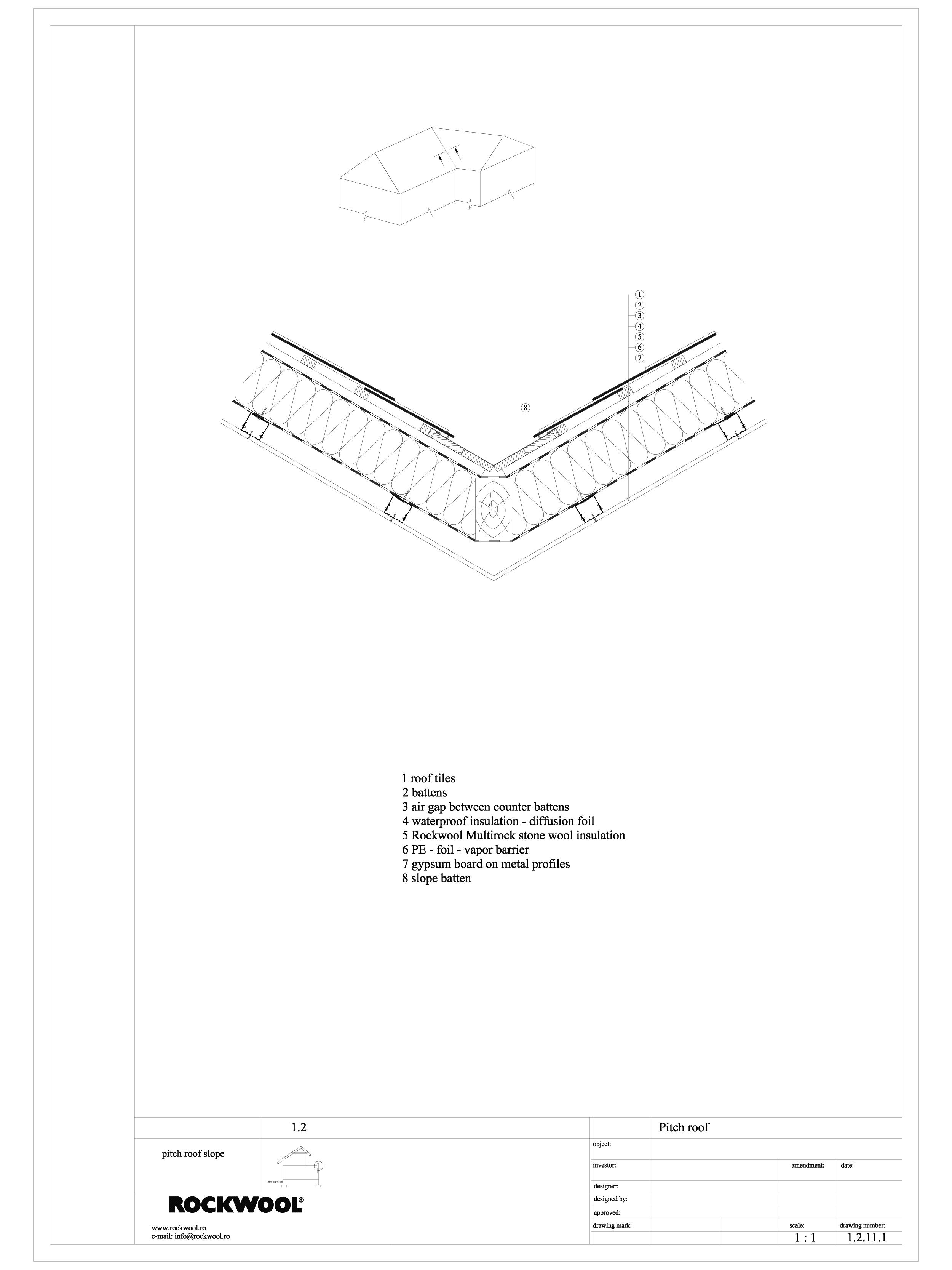 Pagina 1 - CAD-DWG Termoizolarea acoperisului mansardat - detaliu de dolie ROCKWOOL Detaliu de...