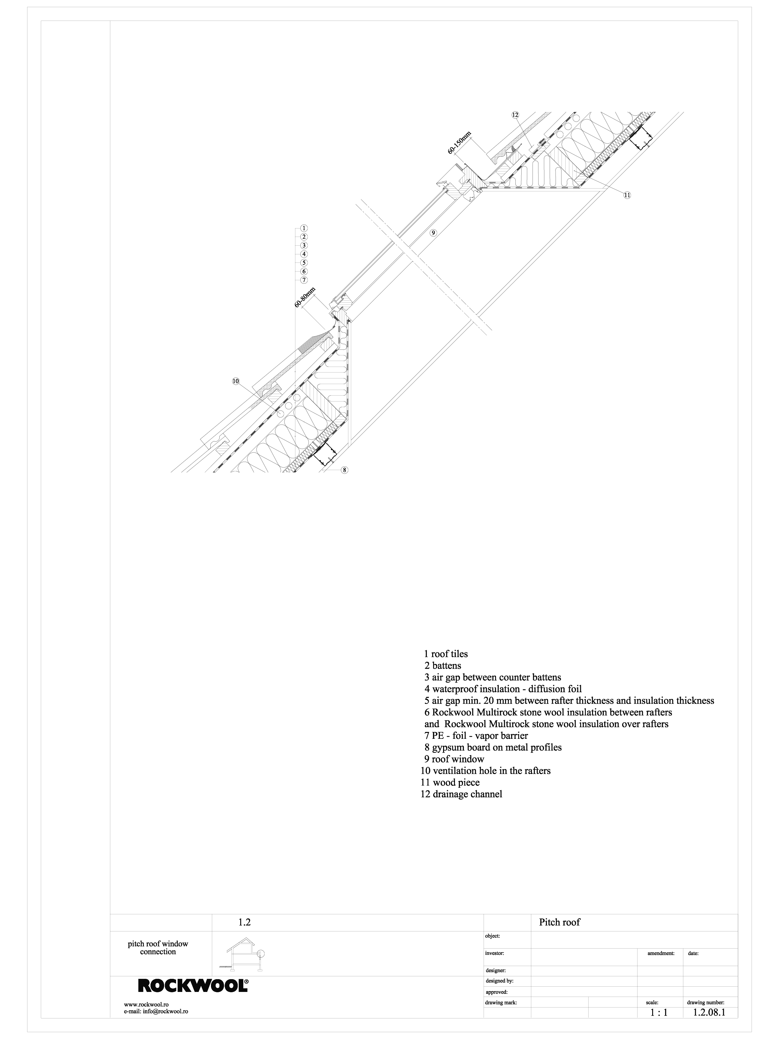 Termoizolarea acoperisului mansardat - detaliu racord cu ferestre de mansarda ROCKWOOL Termoizolatie vata bazaltica pentru acoperisuri ROCKWOOL ROMANIA  - Pagina 1