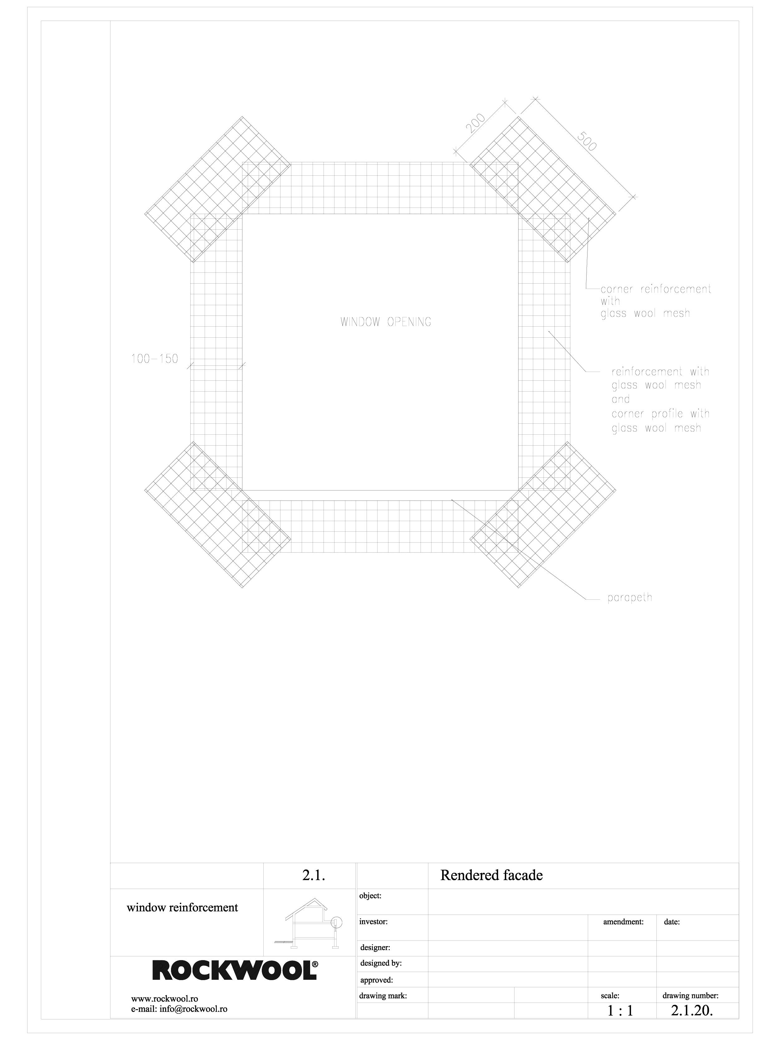 Pagina 1 - CAD-DWG Termoizolarea fatadelor tencuite - detaliu de armare in jurul golurilor ROCKWOOL ...