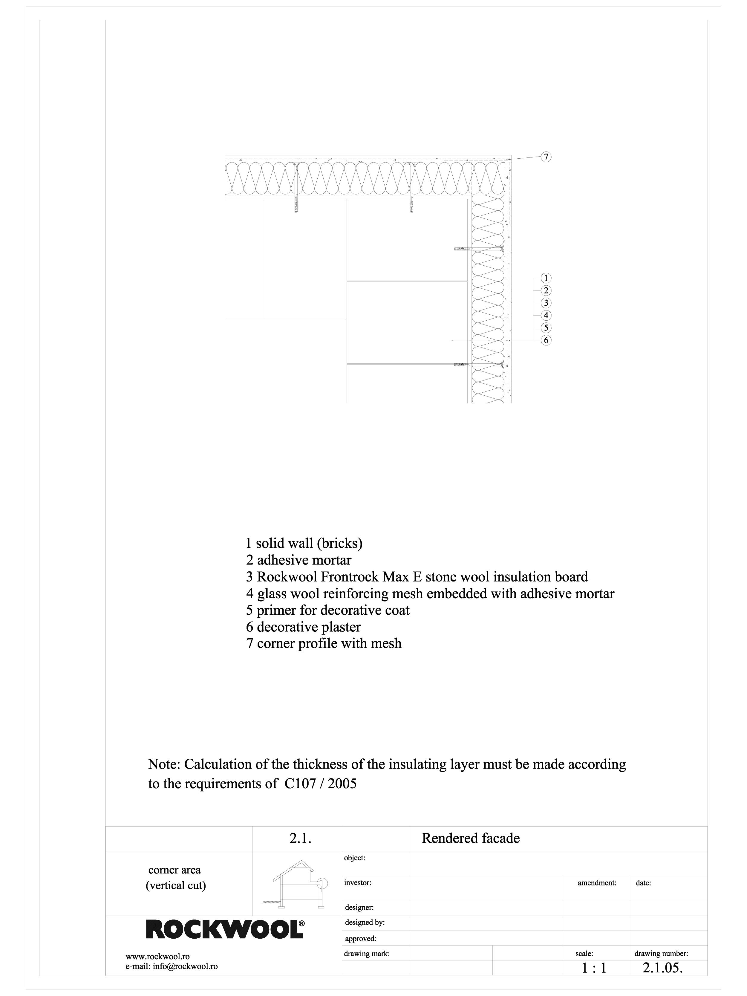 Pagina 1 - CAD-DWG Termoizolarea fatadelor tencuite - detaliu de colt iesit ROCKWOOL Detaliu de...
