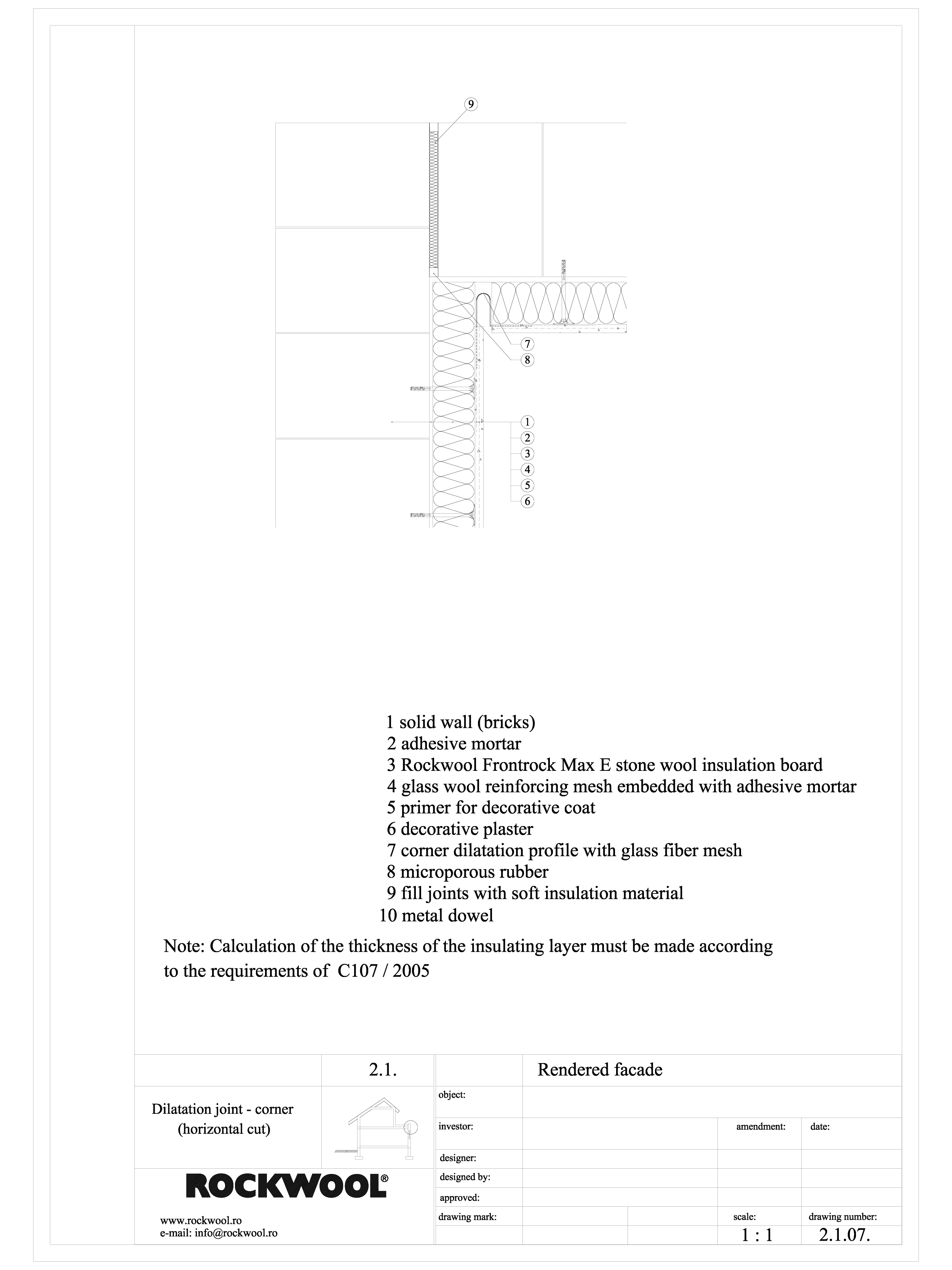 Pagina 1 - CAD-DWG Termoizolarea fatadelor tencuite - detaliu de colt intrat ROCKWOOL Detaliu de...