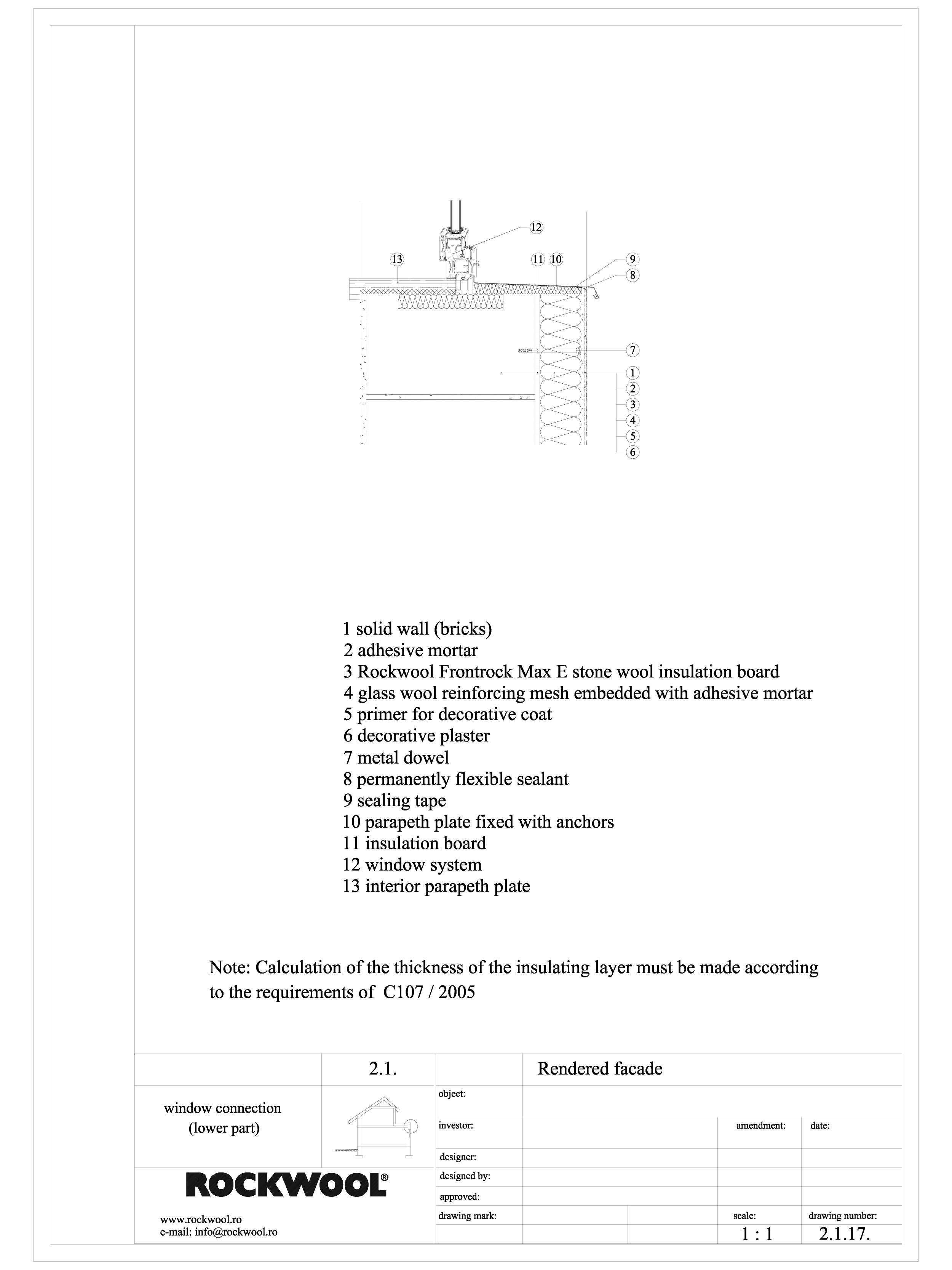 Termoizolarea fatadelor tencuite - detaliu de racod cu sectiune parte inferioara ROCKWOOL Termoizolatie vata bazaltica pentru fatade ventilate ROCKWOOL ROMANIA  - Pagina 1