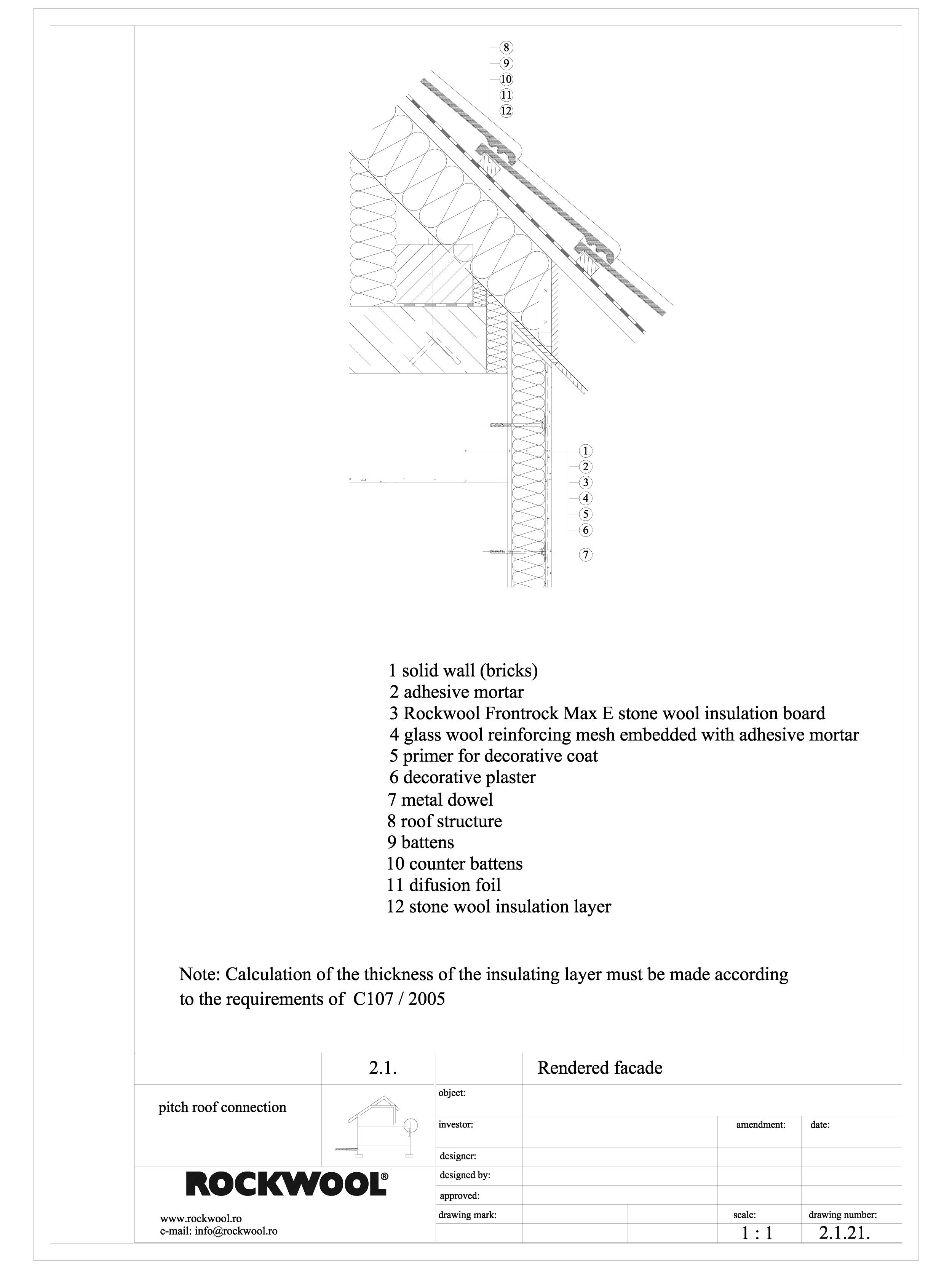 Termoizolarea fatadelor tencuite - detaliu racord la streasina ROCKWOOL Termoizolatie vata bazaltica pentru fatade ventilate ROCKWOOL ROMANIA  - Pagina 1