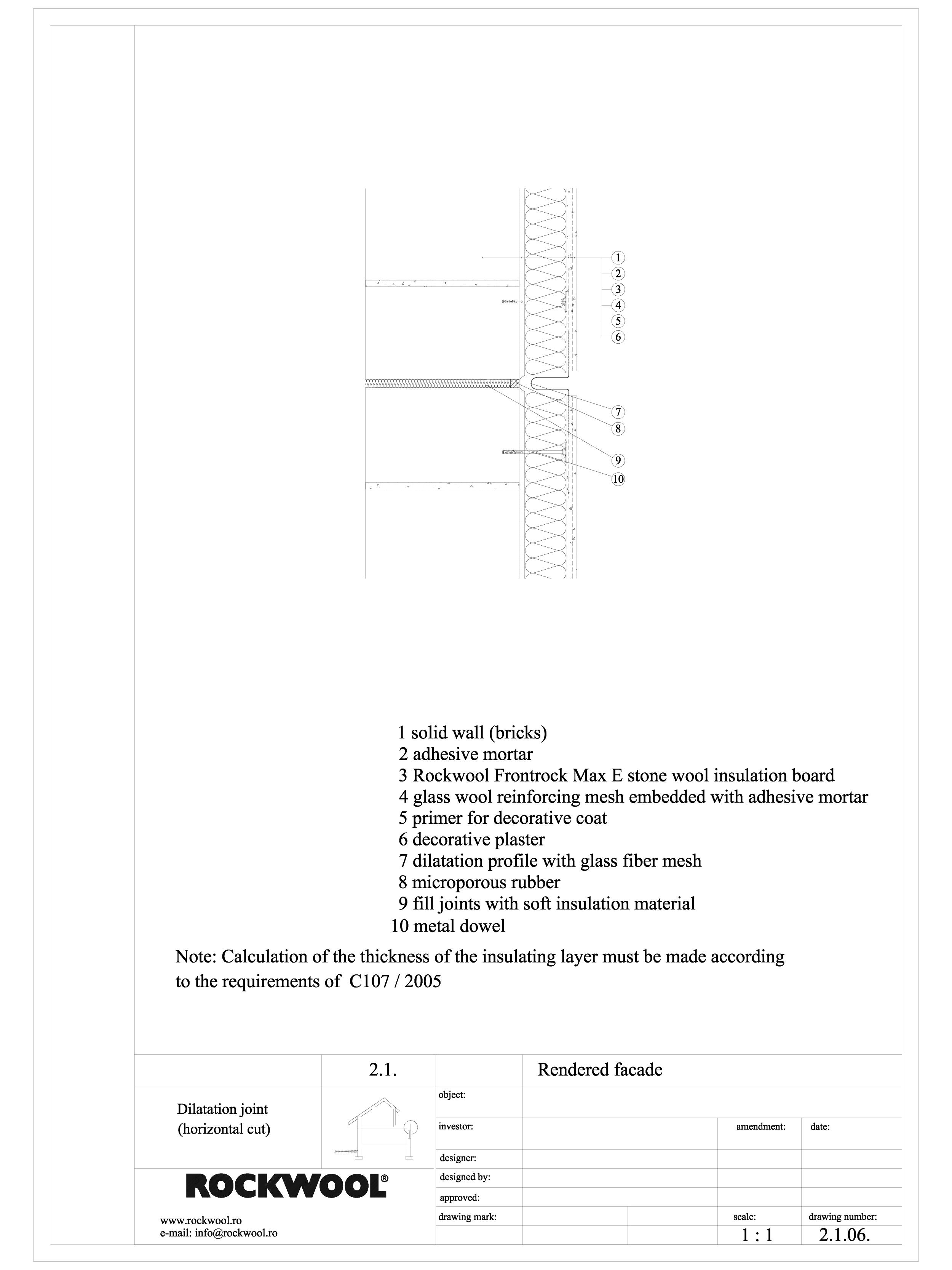 Pagina 1 - CAD-DWG Termoizolarea fatadelor tencuite - detaliu rost de dilatatie ROCKWOOL Detaliu de ...