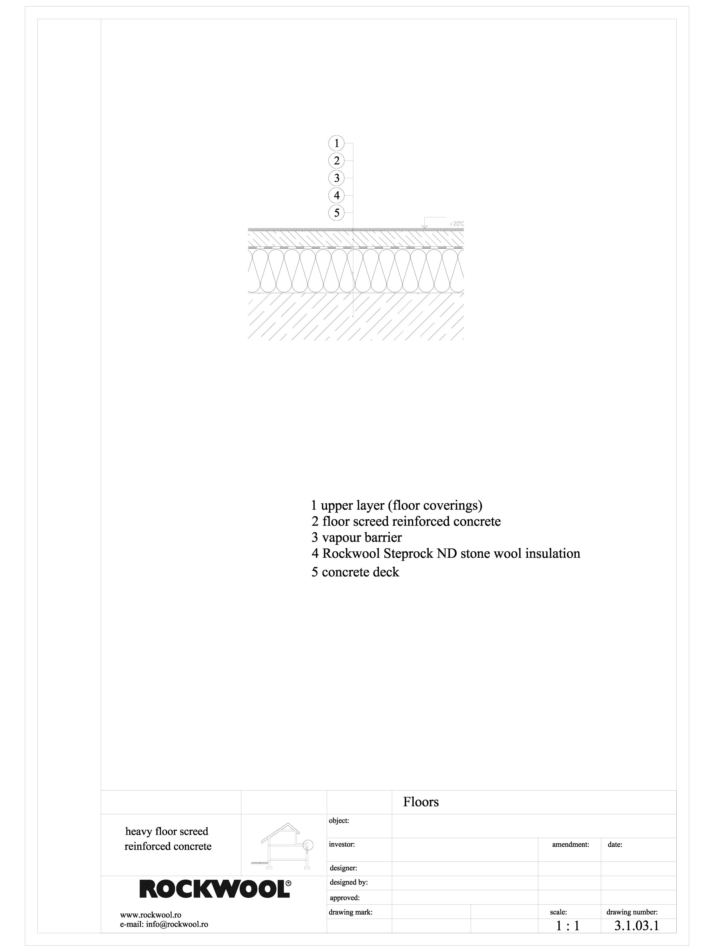 Termoizolarea pardoselilor - detaliu termoizolare pardoseala pe structura beton armat ROCKWOOL Termoizolatie vata bazaltica pentru pardoseli ROCKWOOL ROMANIA  - Pagina 1