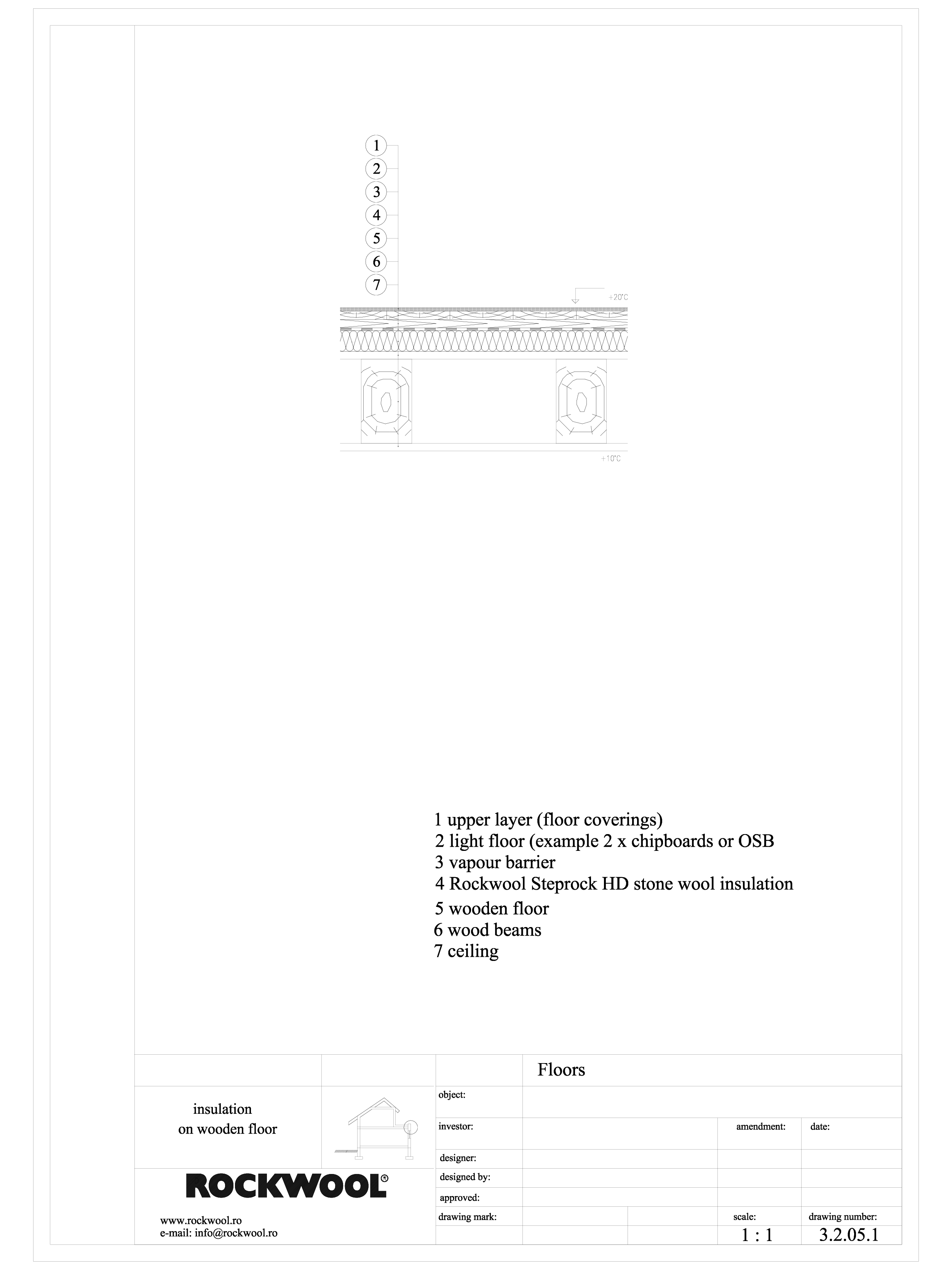 Termoizolarea pardoselilor - detaliu termoizolare, pardoseala pe structura de lemn ROCKWOOL Termoizolatie vata bazaltica pentru pardoseli ROCKWOOL ROMANIA  - Pagina 1
