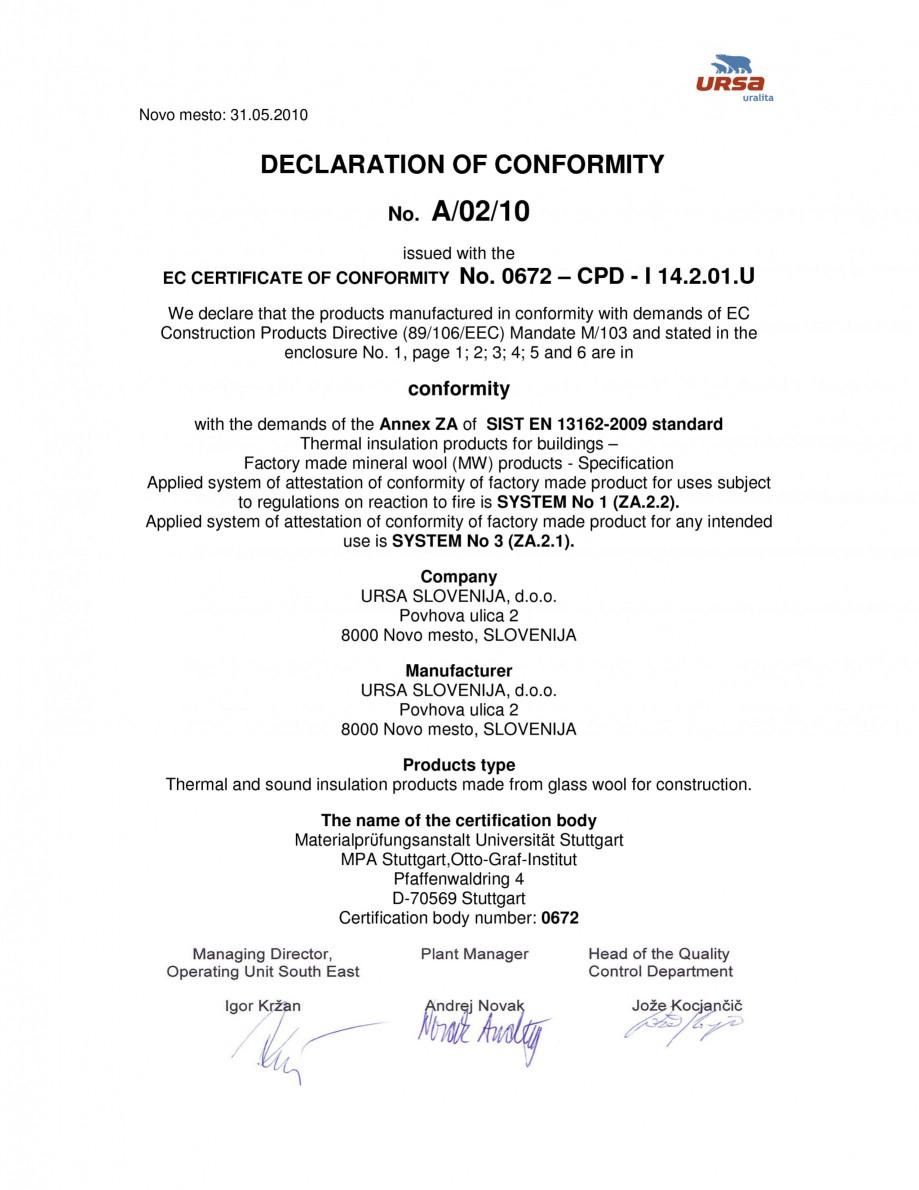 Pagina 1 - Certificat de conformitate A/02/10  Certificare produs Engleza Novo mesto: 31.05.2010 ...