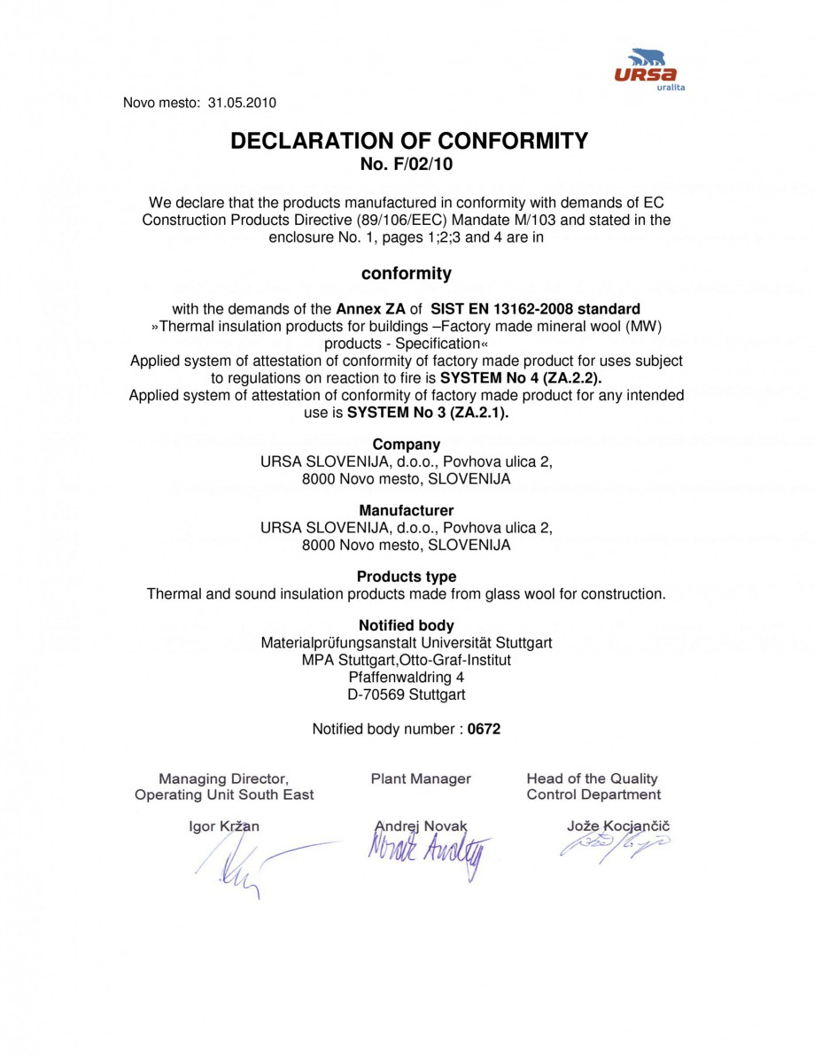Pagina 1 - Certificat de conformitate F/02/10  Certificare produs Engleza Novo mesto: 31.05.2010 ...