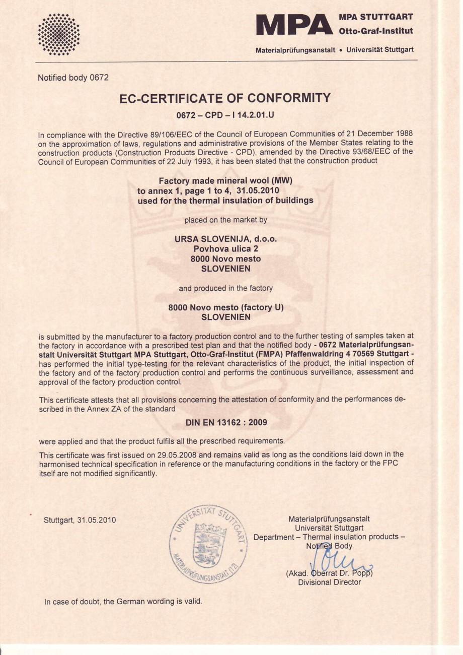 Pagina 1 - Certificat de conformitate MPA  Certificare produs Engleza & Notified body0672  MPAH::]....