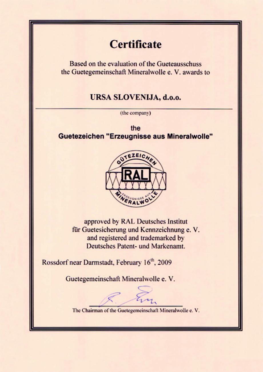 Pagina 1 - Certificat RAL  Certificare produs Engleza