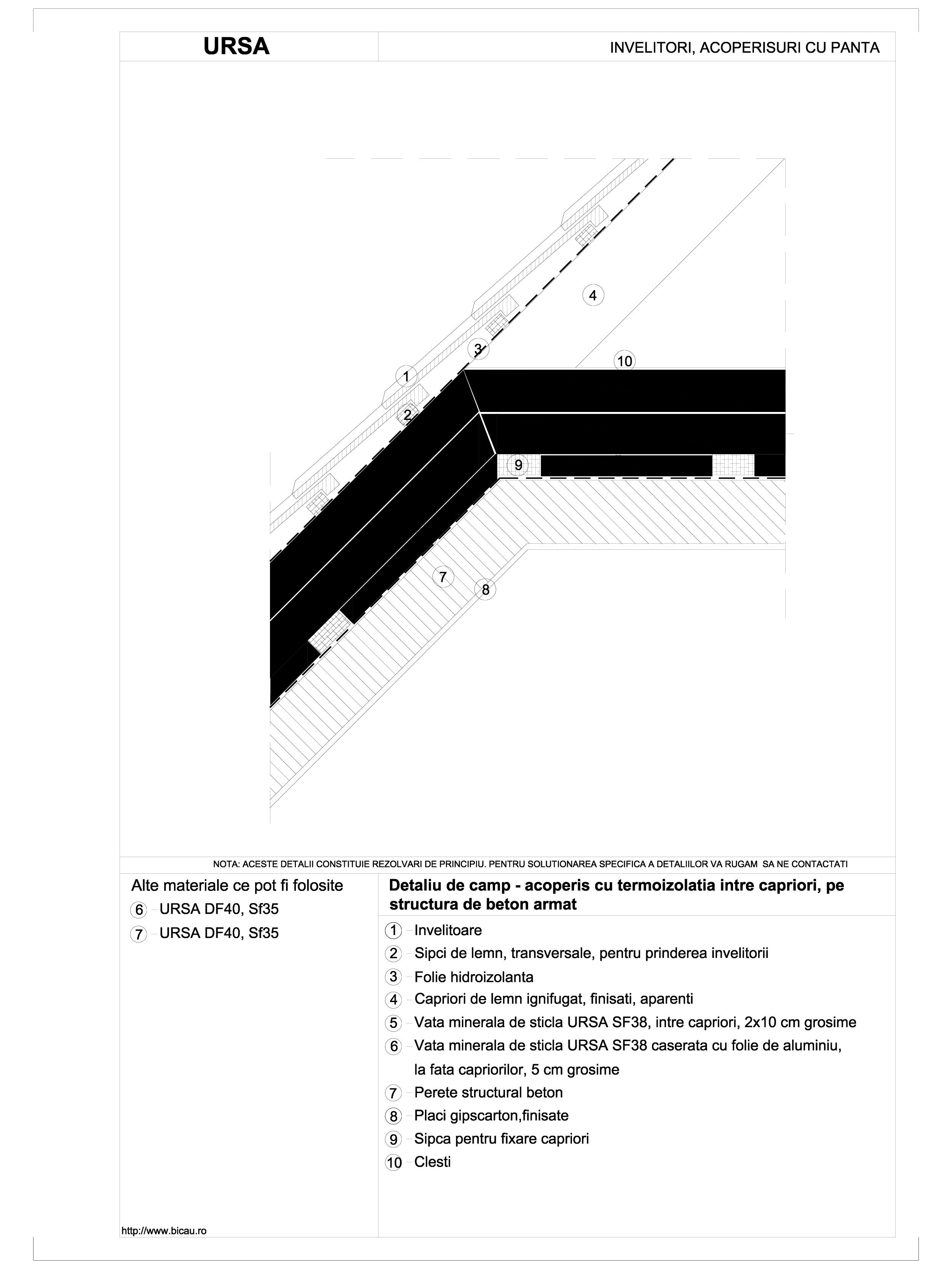Pagina 1 - CAD-DWG Detaliu de camp - acoperis cu termoizolatia intre capriori, pe structura de beton...