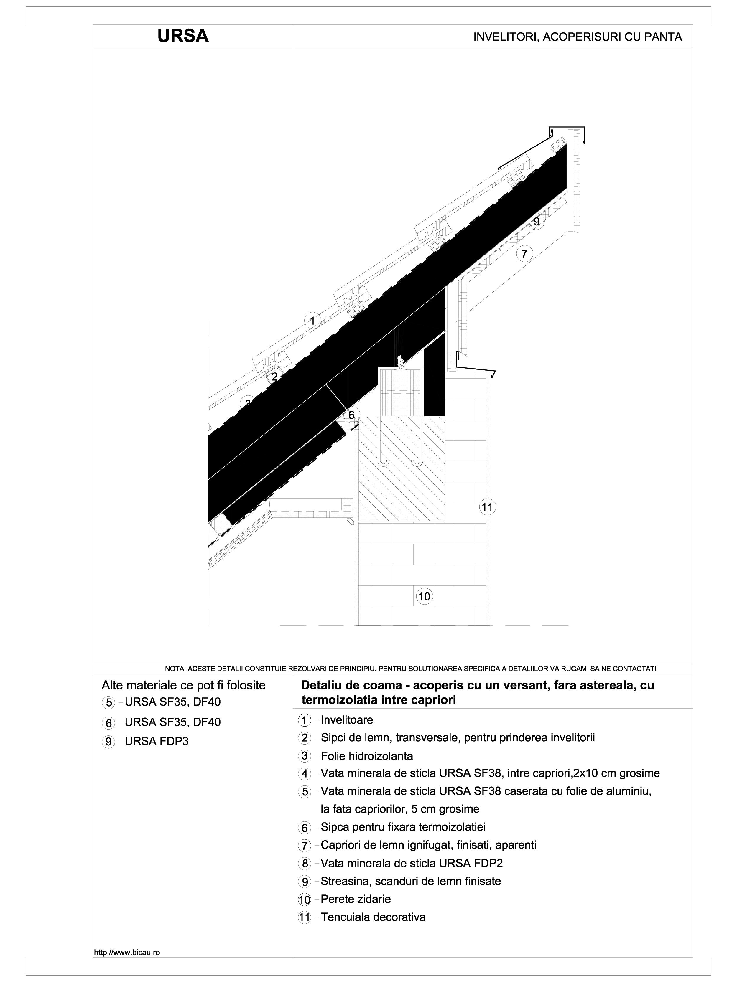 Detaliu de coama - acoperis cu un versant, fara astereala, cu termoizolatia intre capriori URSA Vata minerala pentru acoperisuri si mansarde URSA ROMANIA   - Pagina 1