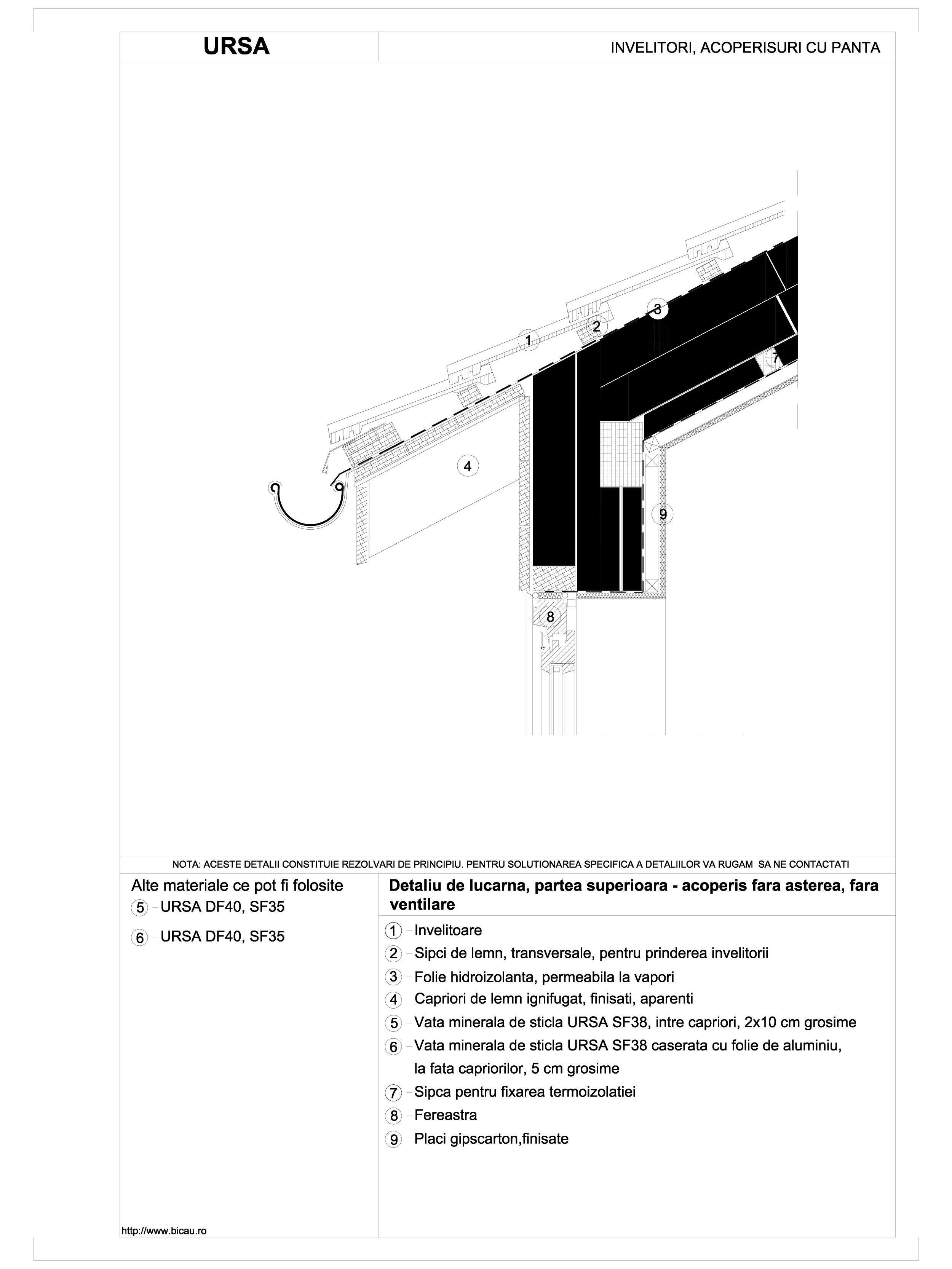 Detaliu de lucarna, partea superioara - acoperis fara asterea, fara ventilare URSA Vata minerala pentru acoperisuri si mansarde URSA ROMANIA   - Pagina 1