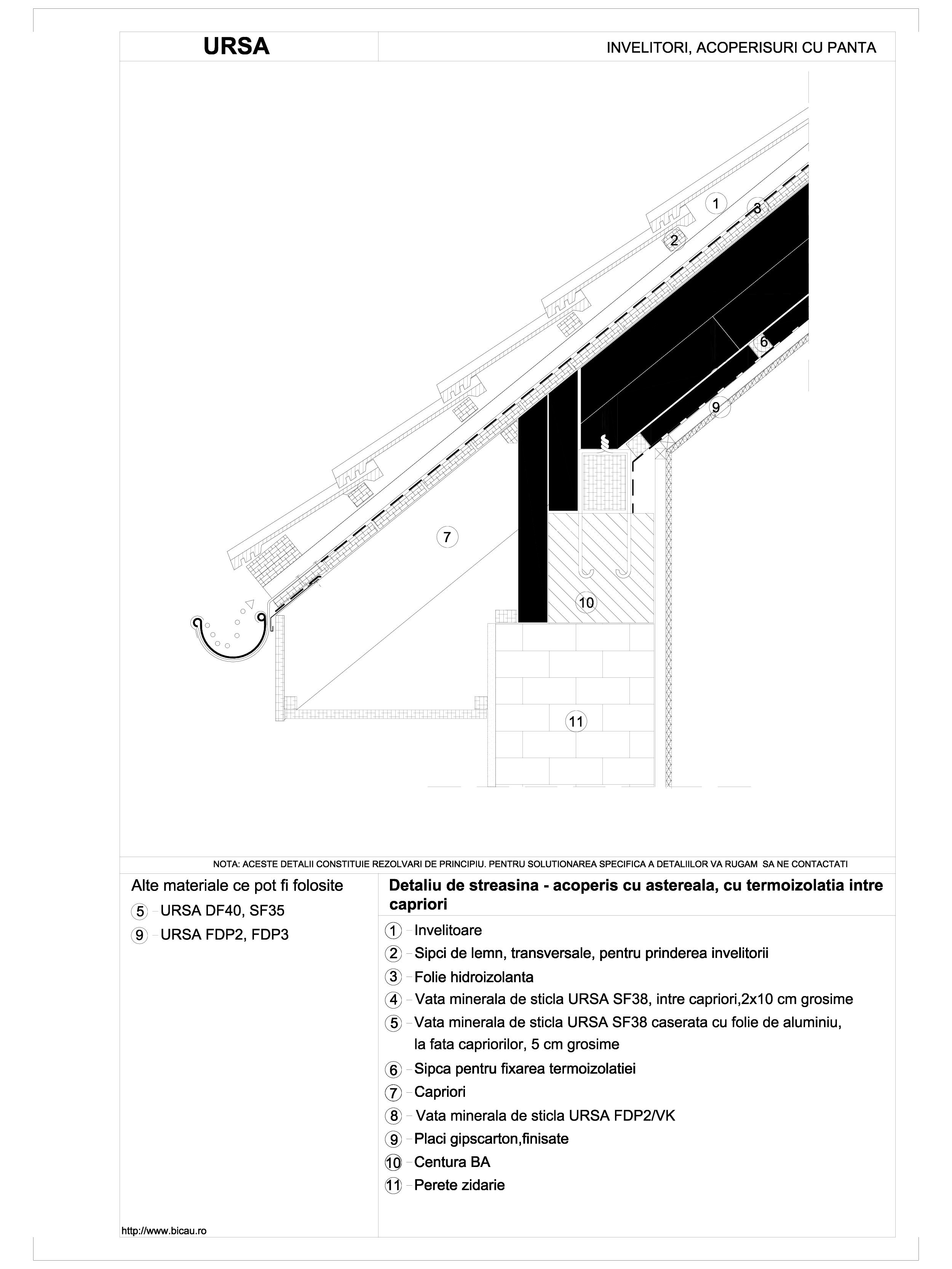 Pagina 1 - CAD-DWG Detaliu de streasina - acoperis cu termoizolatia intre capriori, pe structura de ...