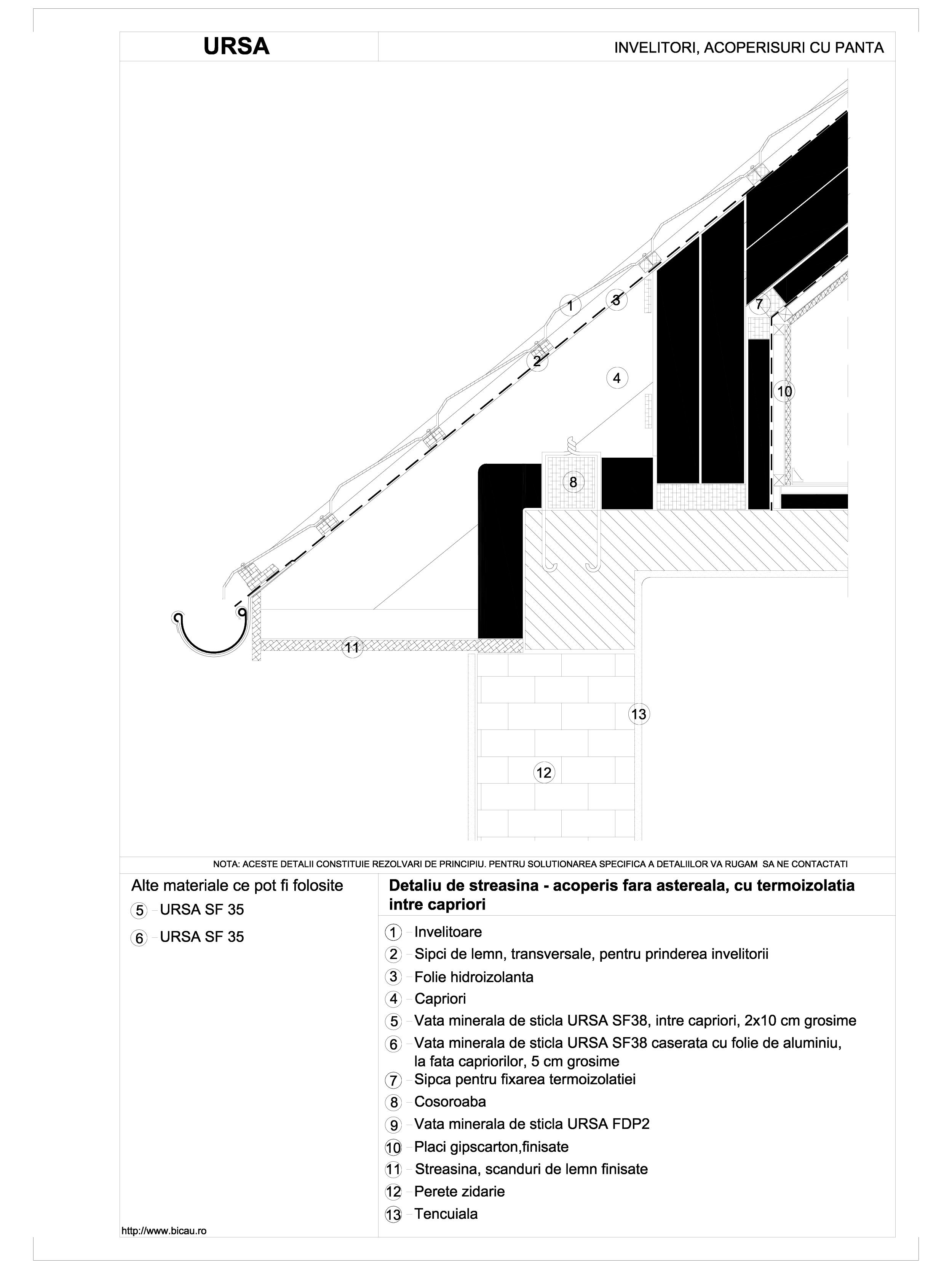 Pagina 1 - CAD-DWG Detaliu de streasina - acoperis fara astereala, cu termoizolatia intre capriori...