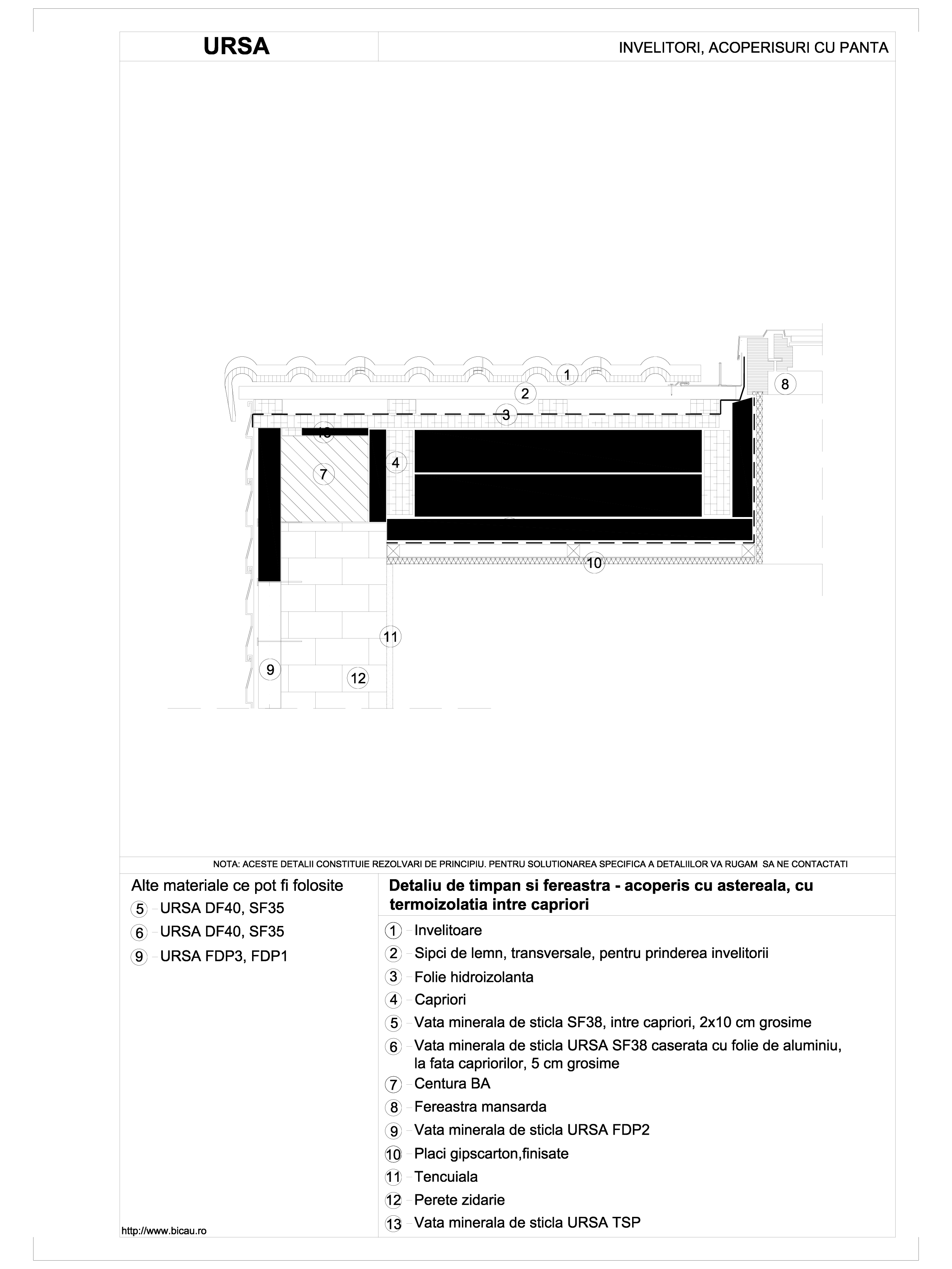 Pagina 1 - CAD-DWG Detaliu de timpan si fereastra - acoperis cu astereala, cu termoizolatia intre...