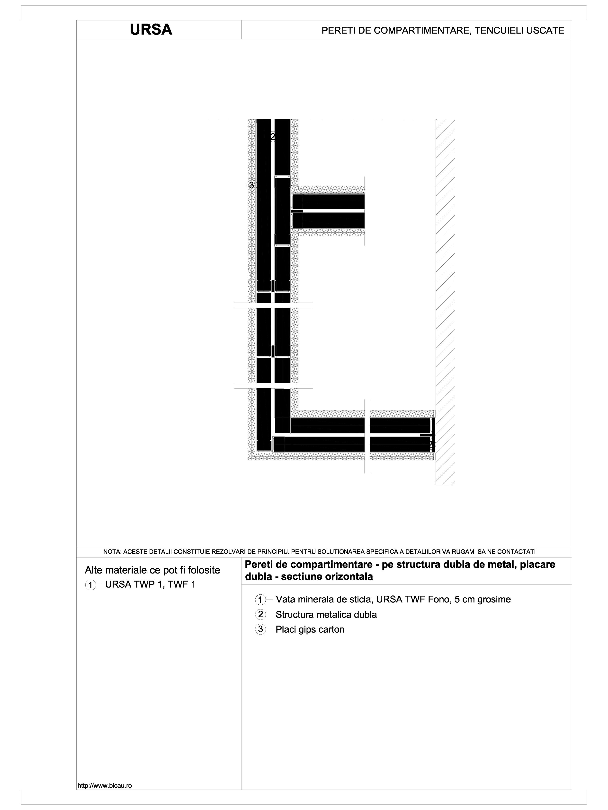 Pereti de compartimentare - pe structura dubla de lemn, placare dubla - sectiune orizontala TWF FONO URSA Vata minerala pentru pereti de compartimentare URSA ROMANIA   - Pagina 1