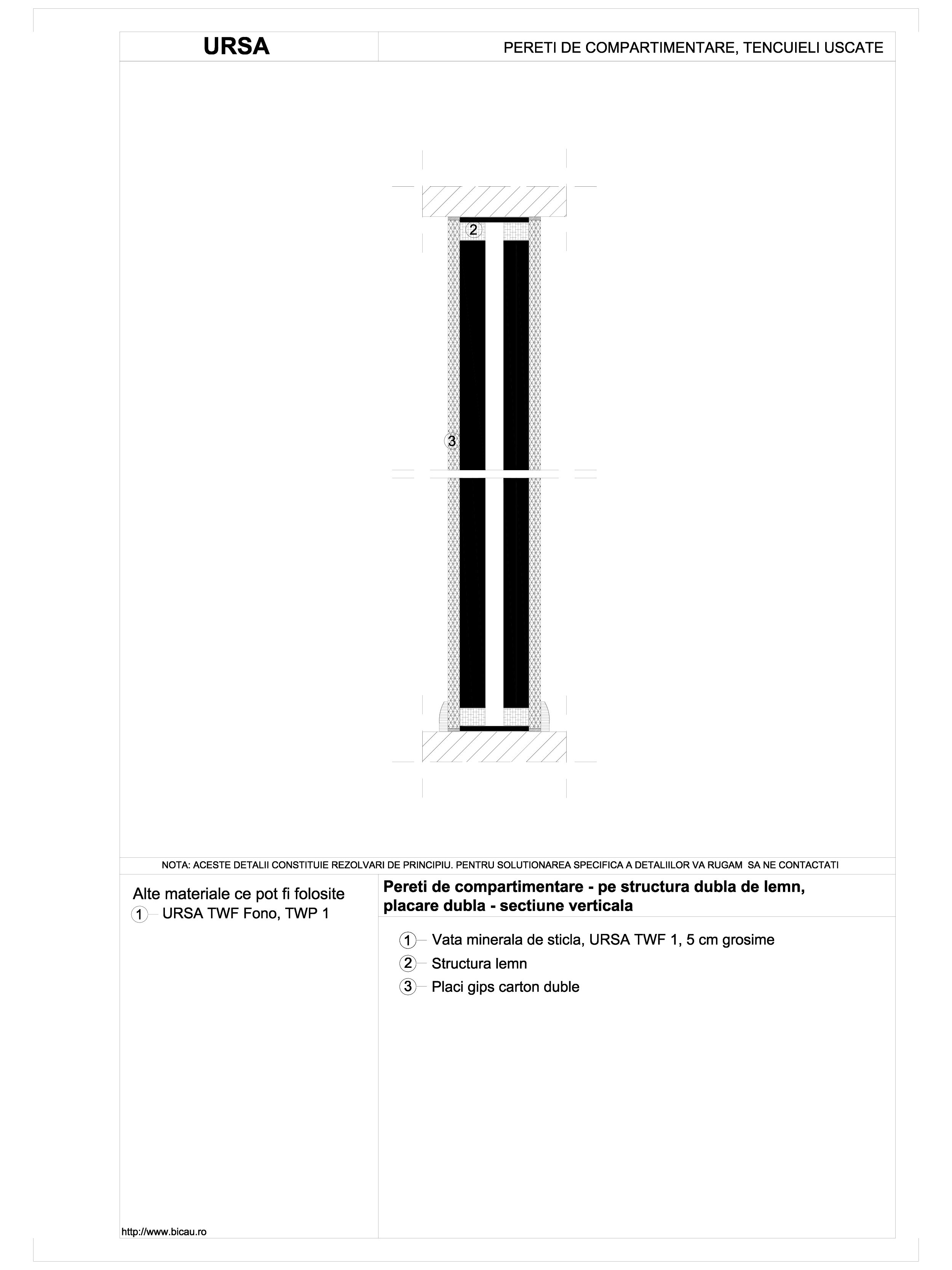 Pereti de compartimentare - pe structura dubla de lemn, placare dubla - sectiune verticala TWF FONO URSA Vata minerala pentru pereti de compartimentare URSA ROMANIA   - Pagina 1
