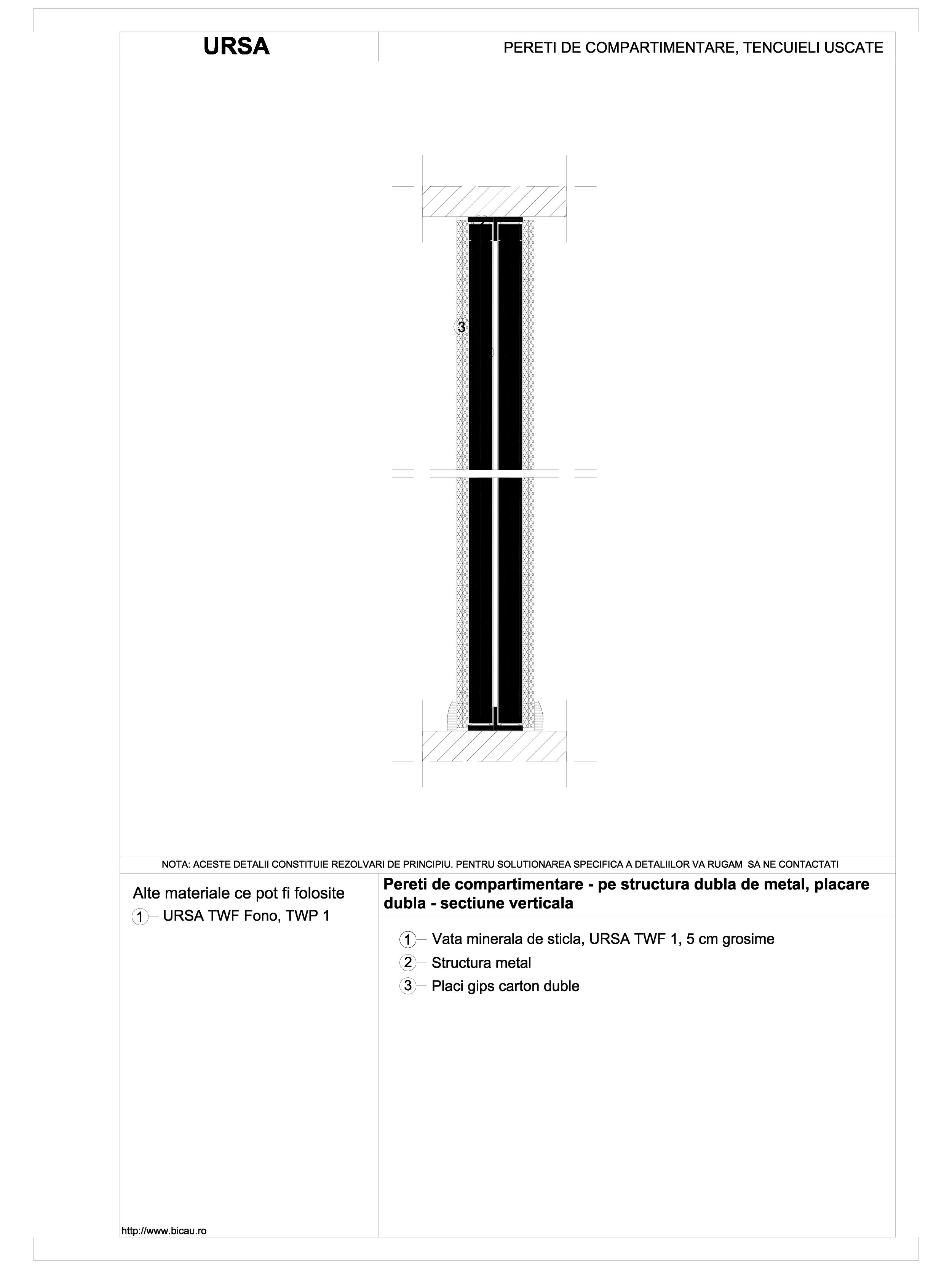 Pereti de compartimentare - pe structura dubla de metal, placare dubla - sectiune verticala TWF FONO URSA Vata minerala pentru pereti de compartimentare URSA ROMANIA   - Pagina 1