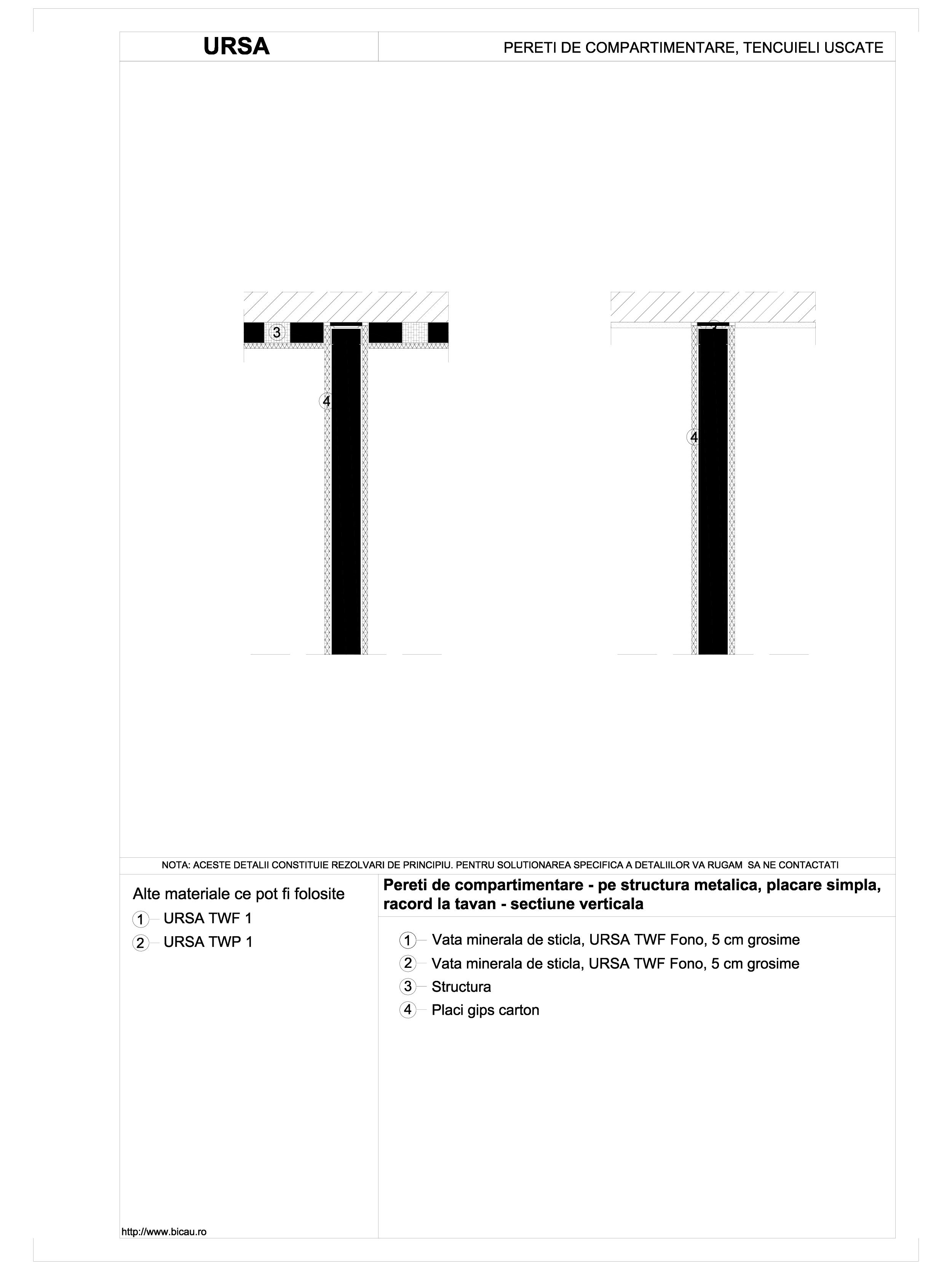 Pereti de compartimentare - pe structura metalica, placare simpla, racord la tavan - sectiune verticala TWF FONO URSA Vata minerala pentru pereti de compartimentare URSA ROMANIA   - Pagina 1