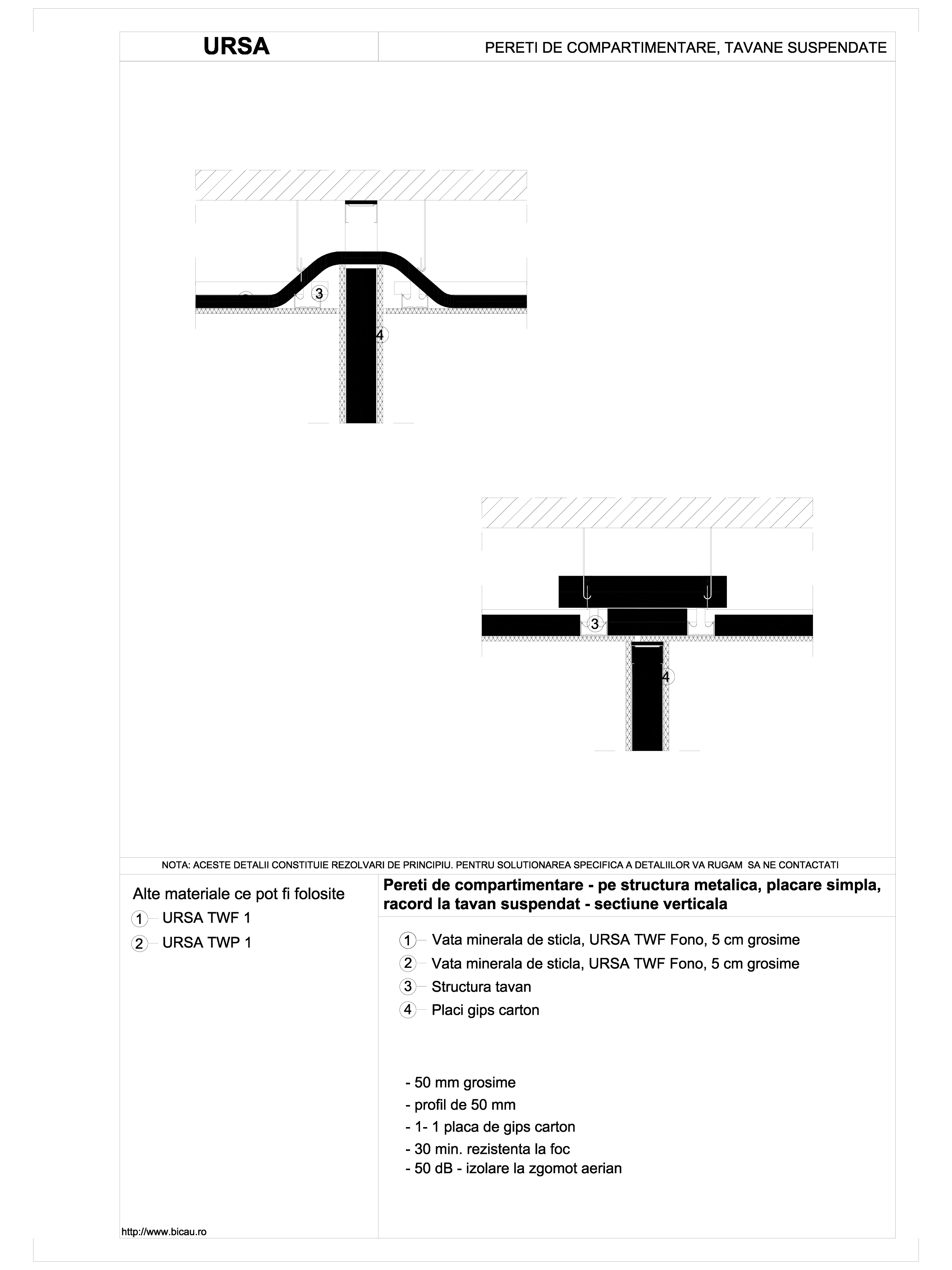 Pereti de compartimentare - pe structura metalica, placare simpla, racord la tavan suspendat - sectiune verticala TWF FONO URSA Vata minerala pentru pereti de compartimentare URSA ROMANIA   - Pagina 1