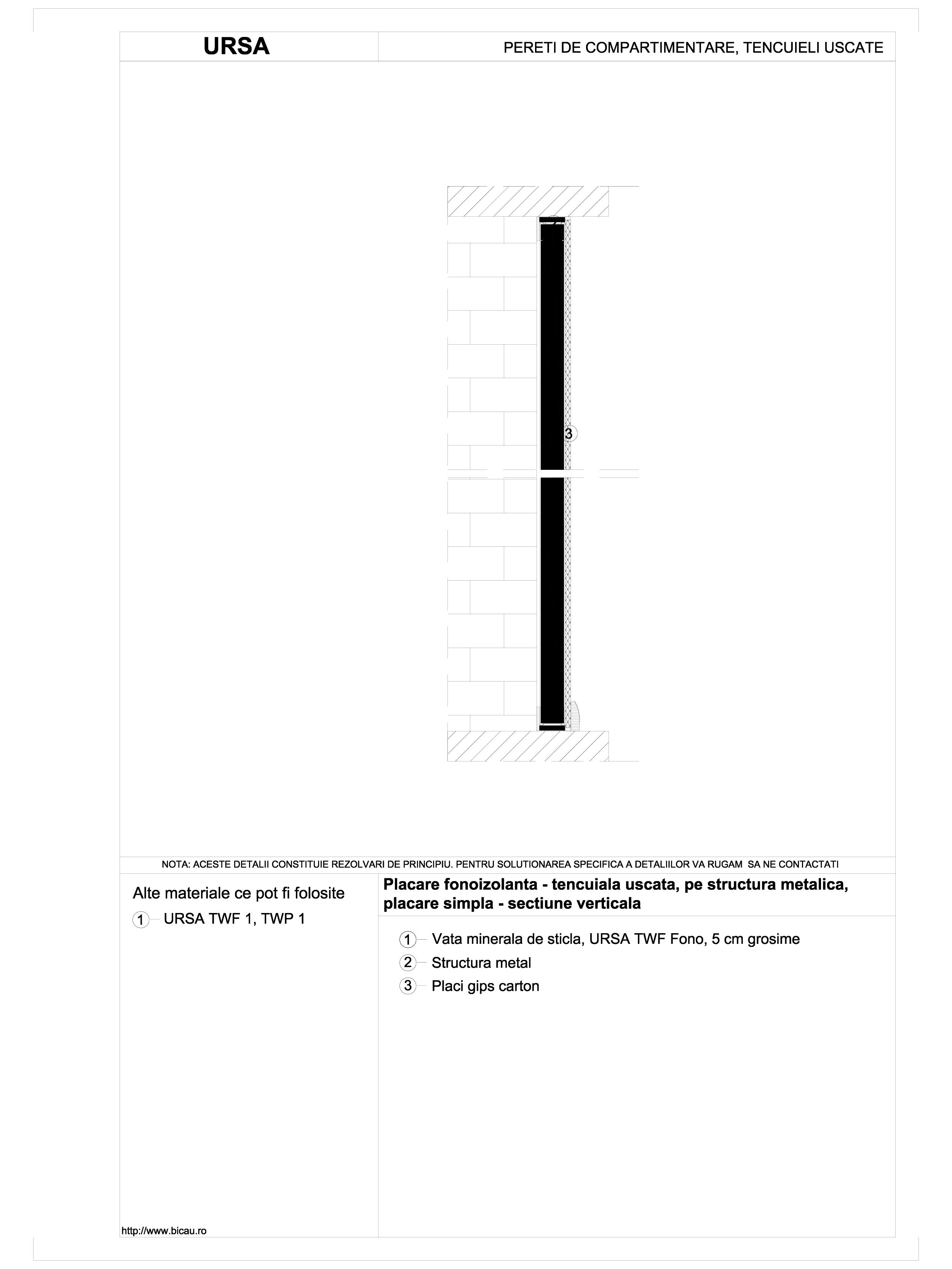 Placare fonoizolanta - tencuiala uscata, pe structura metalica, placare simpla - sectiune verticala TWF FONO URSA Vata minerala pentru pereti de compartimentare URSA ROMANIA   - Pagina 1