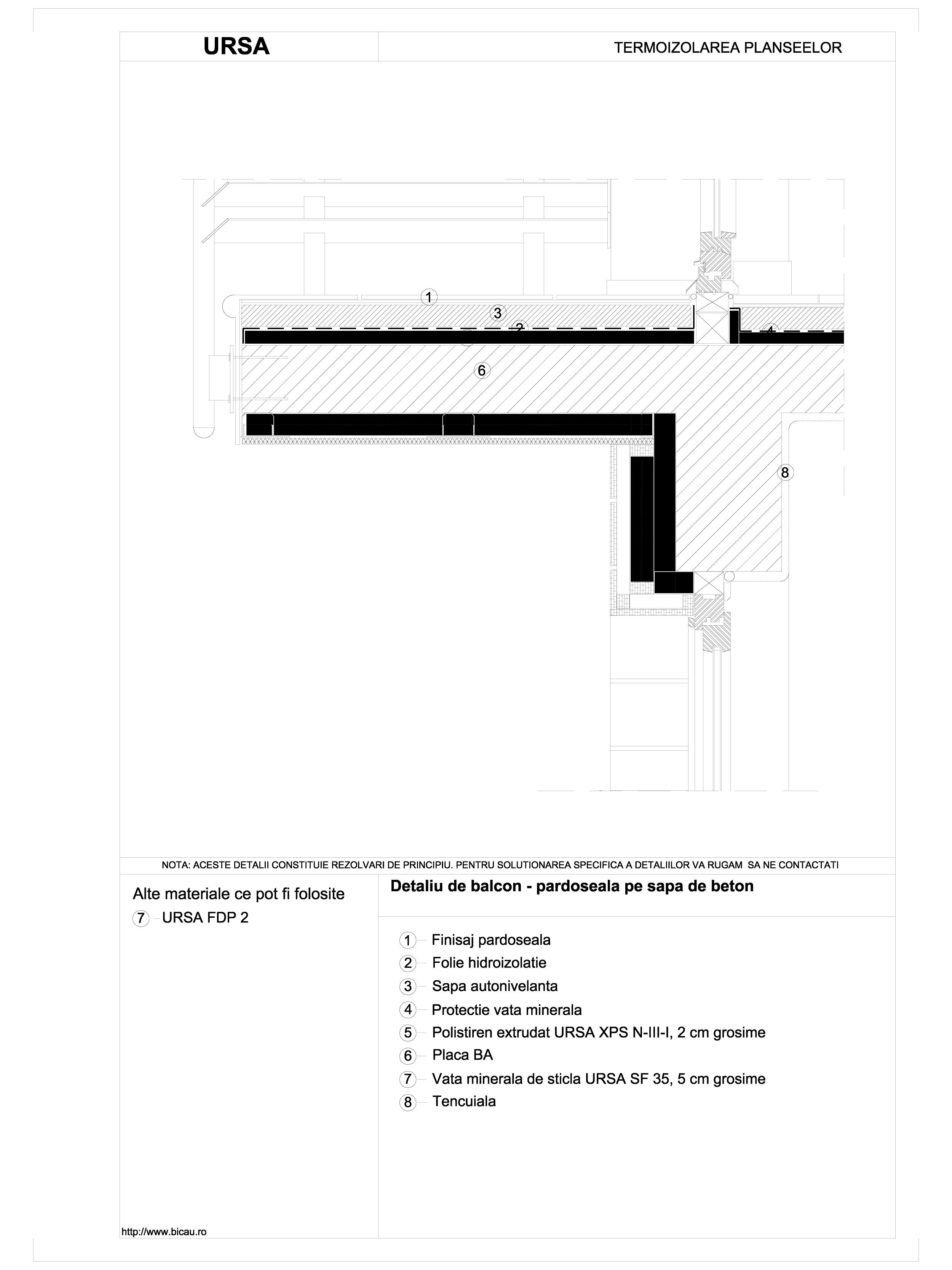 Detaliu de balcon - pardoseala pe sapa de beton URSA Vata minerala pentru pardoseli URSA ROMANIA   - Pagina 1