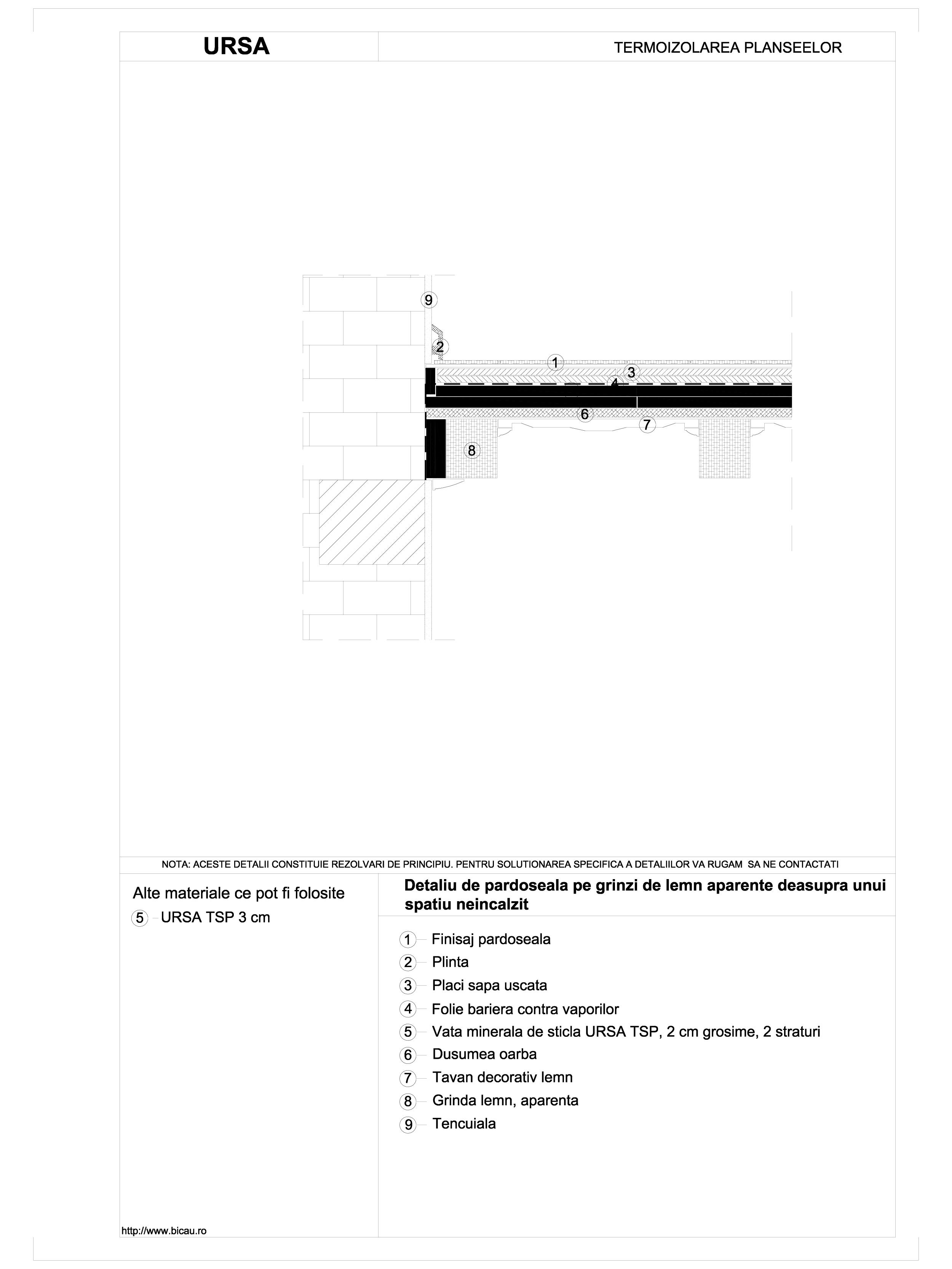 Detaliu de pardoseala pe grinzi de lemn aparente deasupra unui spatiu neincalzit TSP URSA Vata minerala pentru pardoseli URSA ROMANIA   - Pagina 1