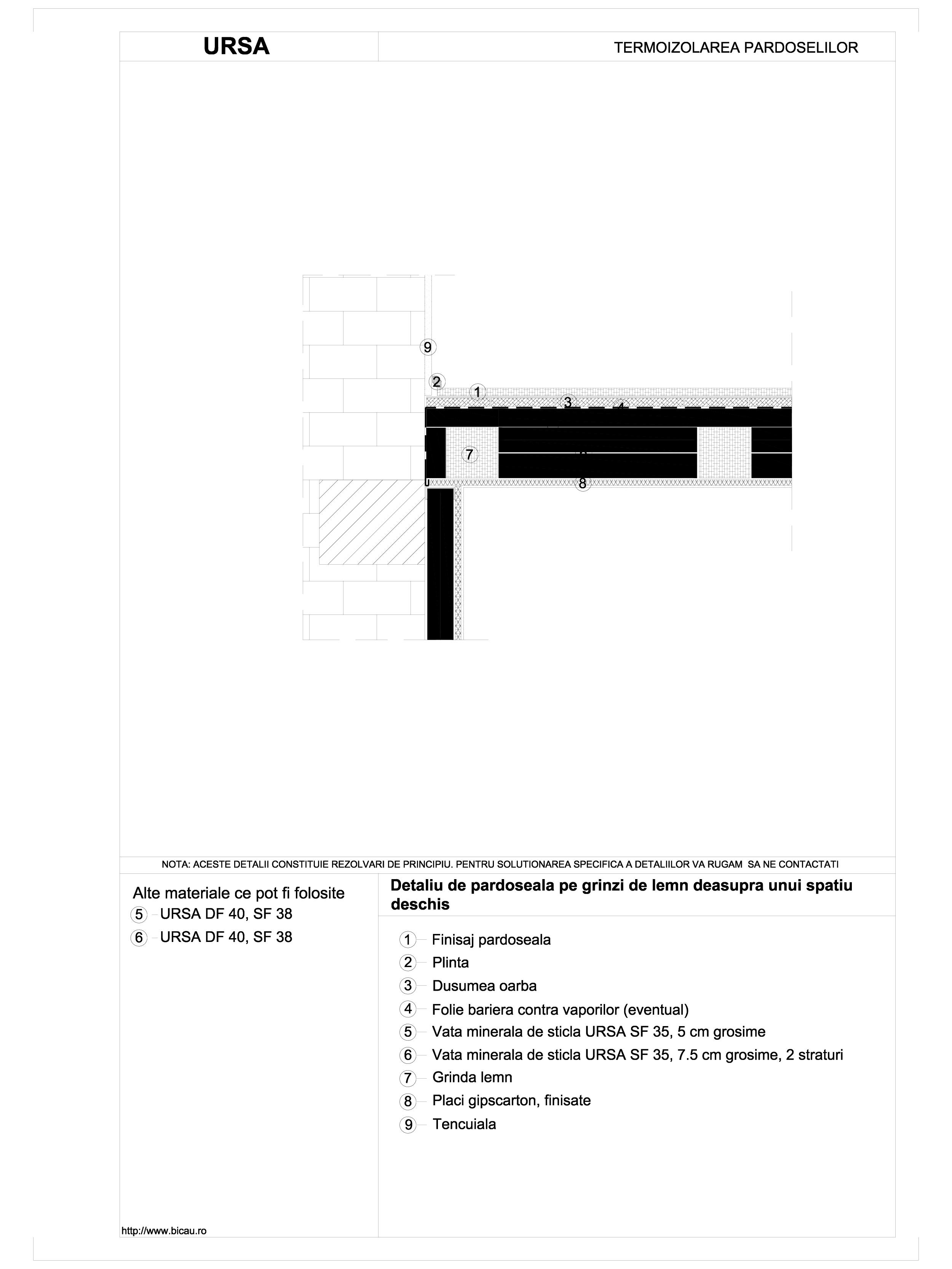 Pagina 1 - CAD-DWG Detaliu de pardoseala pe grinzi de lemn deasupra unui spatiu deschis URSA Detaliu...