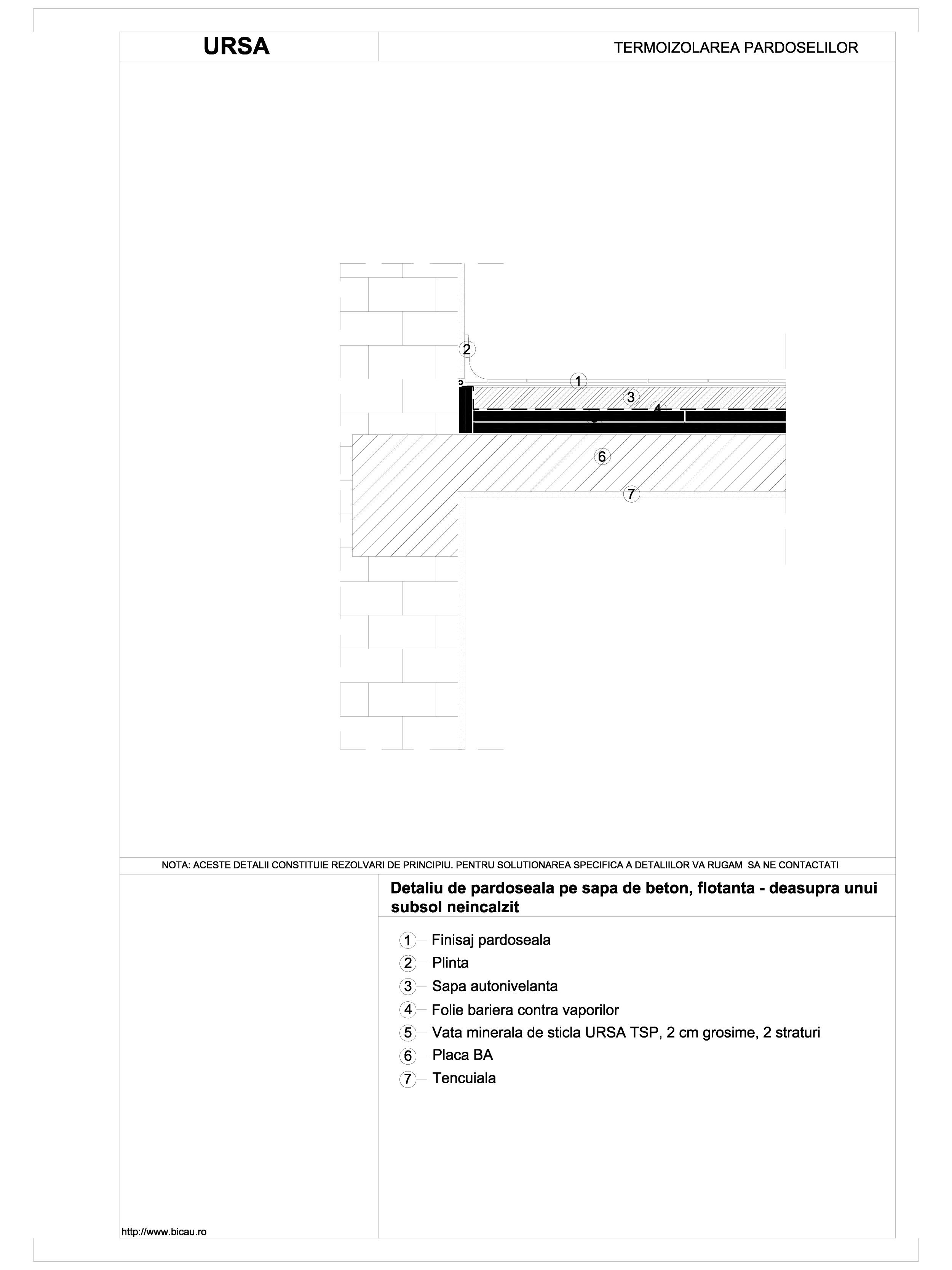 Detaliu de pardoseala pe sapa de beton, flotanta - deasupra unui subsol neincalzit TSP URSA Vata minerala pentru pardoseli URSA ROMANIA   - Pagina 1