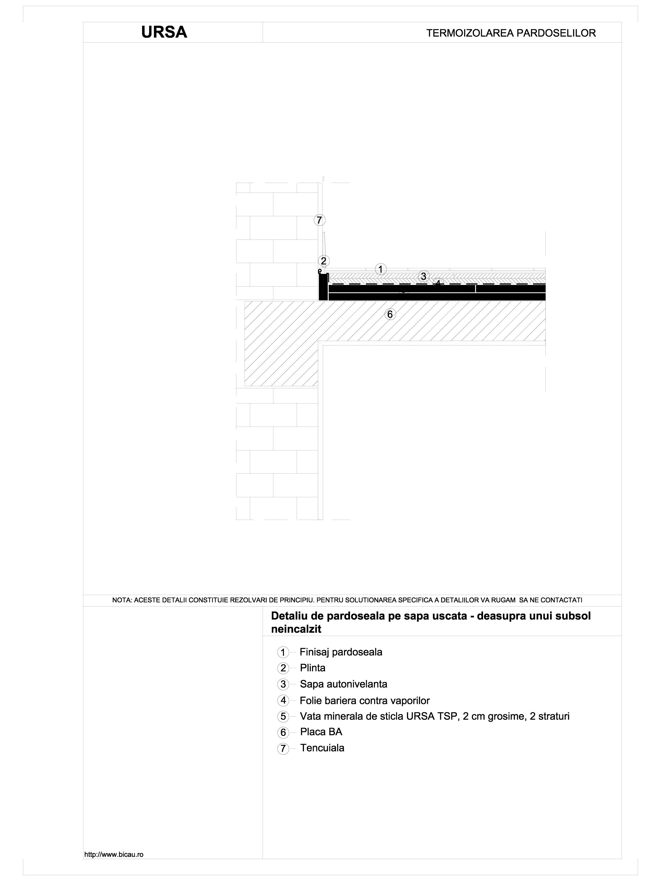 Detaliu de pardoseala pe sapa uscata - deasupra unui subsol neincalzit TSP URSA Vata minerala pentru pardoseli URSA ROMANIA   - Pagina 1