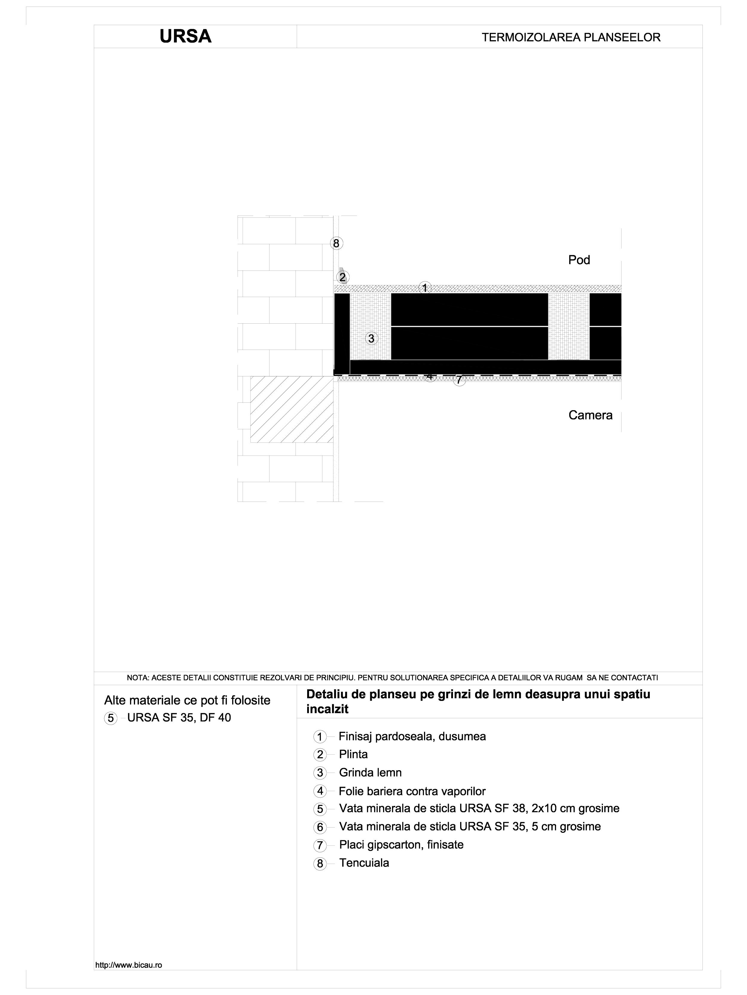 Pagina 1 - CAD-DWG Detaliu de planseu pe grinzi de lemn deasupra unui spatiu incalzit URSA Detaliu...